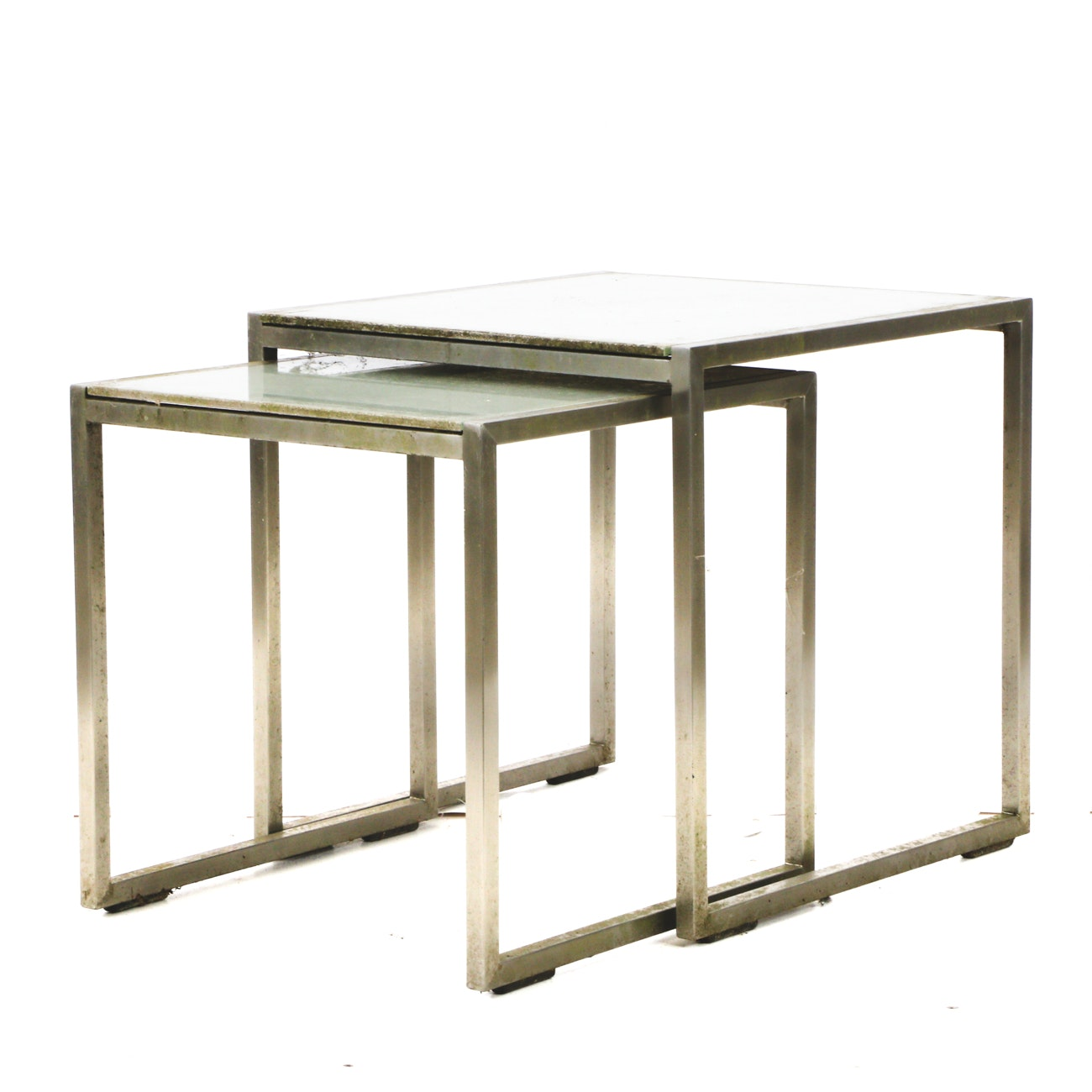 Two Nested Glass and Aluminum Occasional Tables