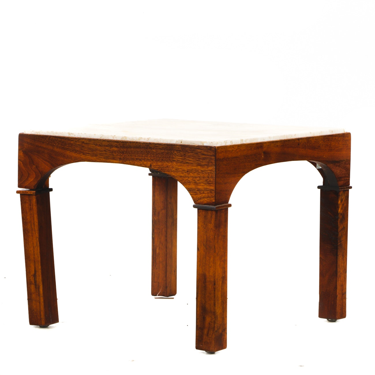 Walnut and Travertine Occasional Table