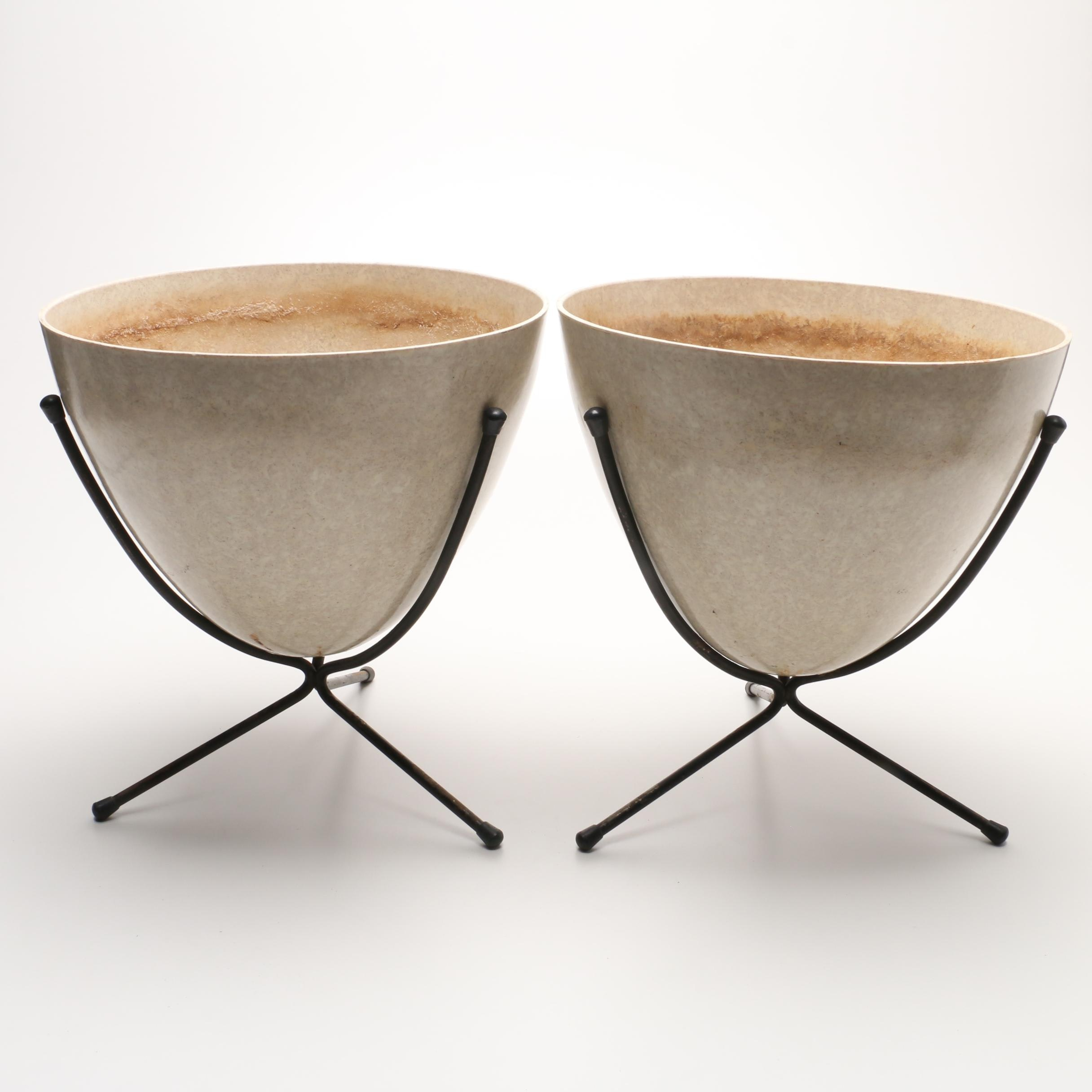 Pair of Off White Egg Shaped Planters With Stands