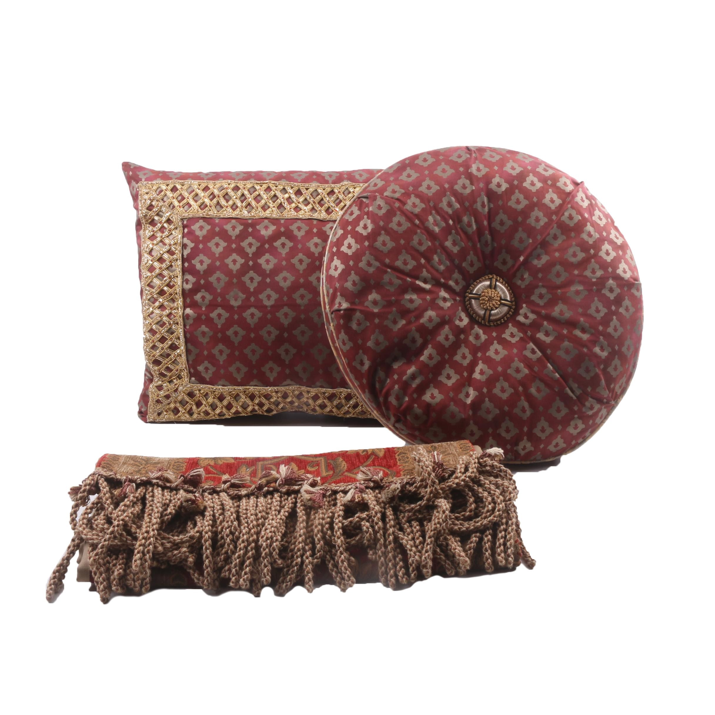 Decorative Custom Made Pillows with Beadwork and Runner