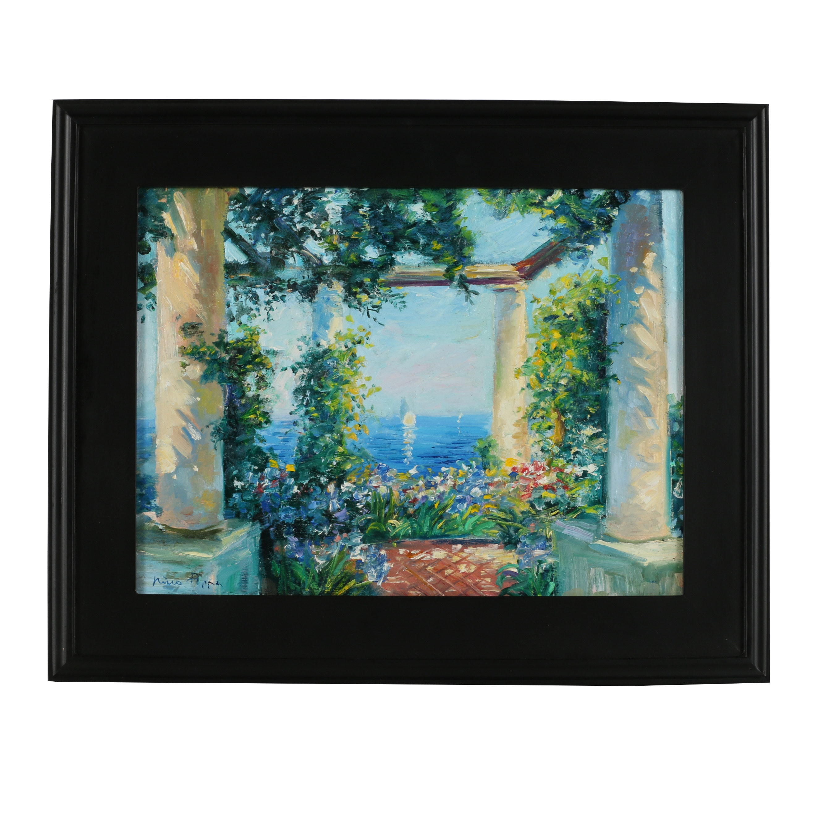 "Nino Pippa Oil Painting ""Capri Terrace Over the Mediterranean"""