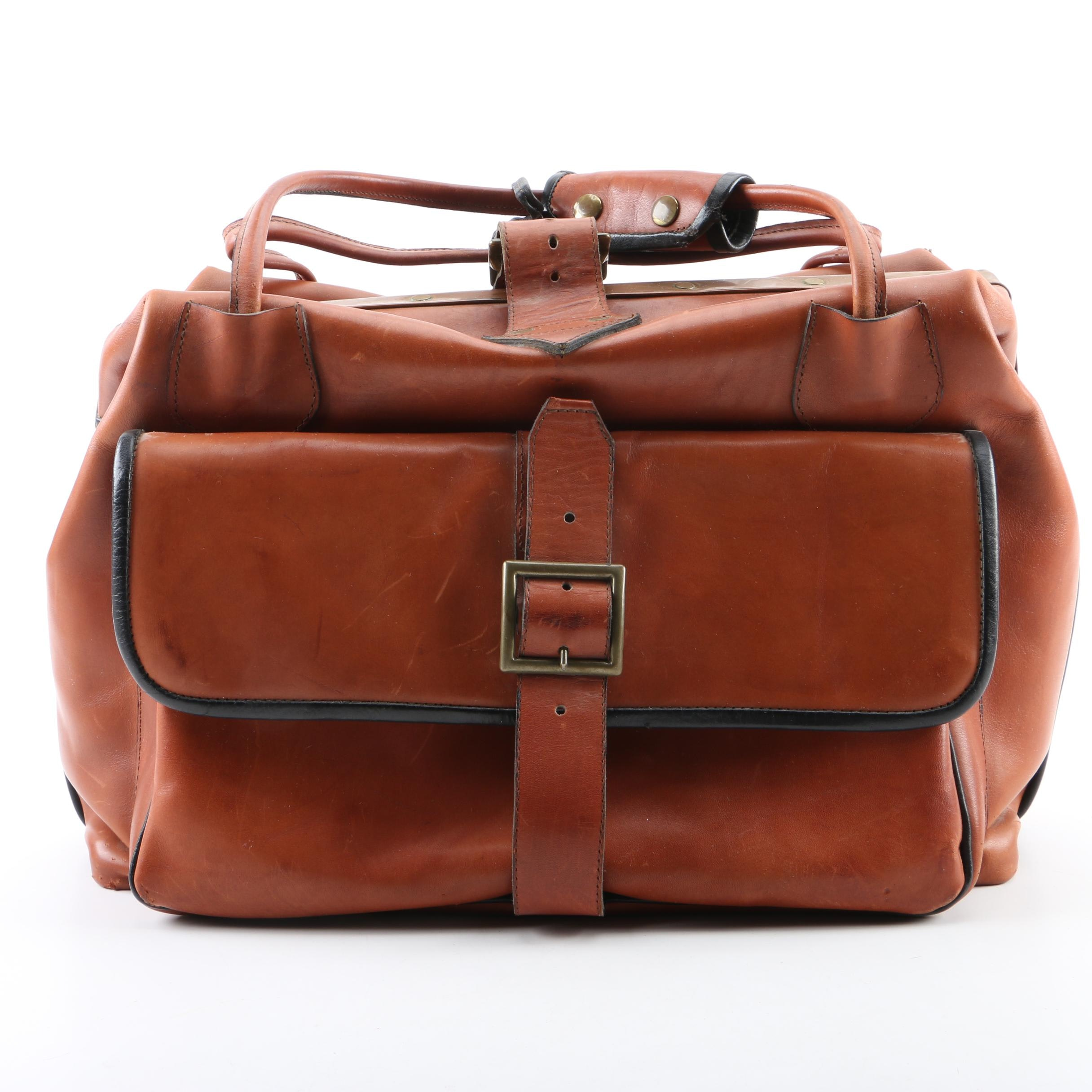 Vintage Leather Doctor's Bag with Copper Trim