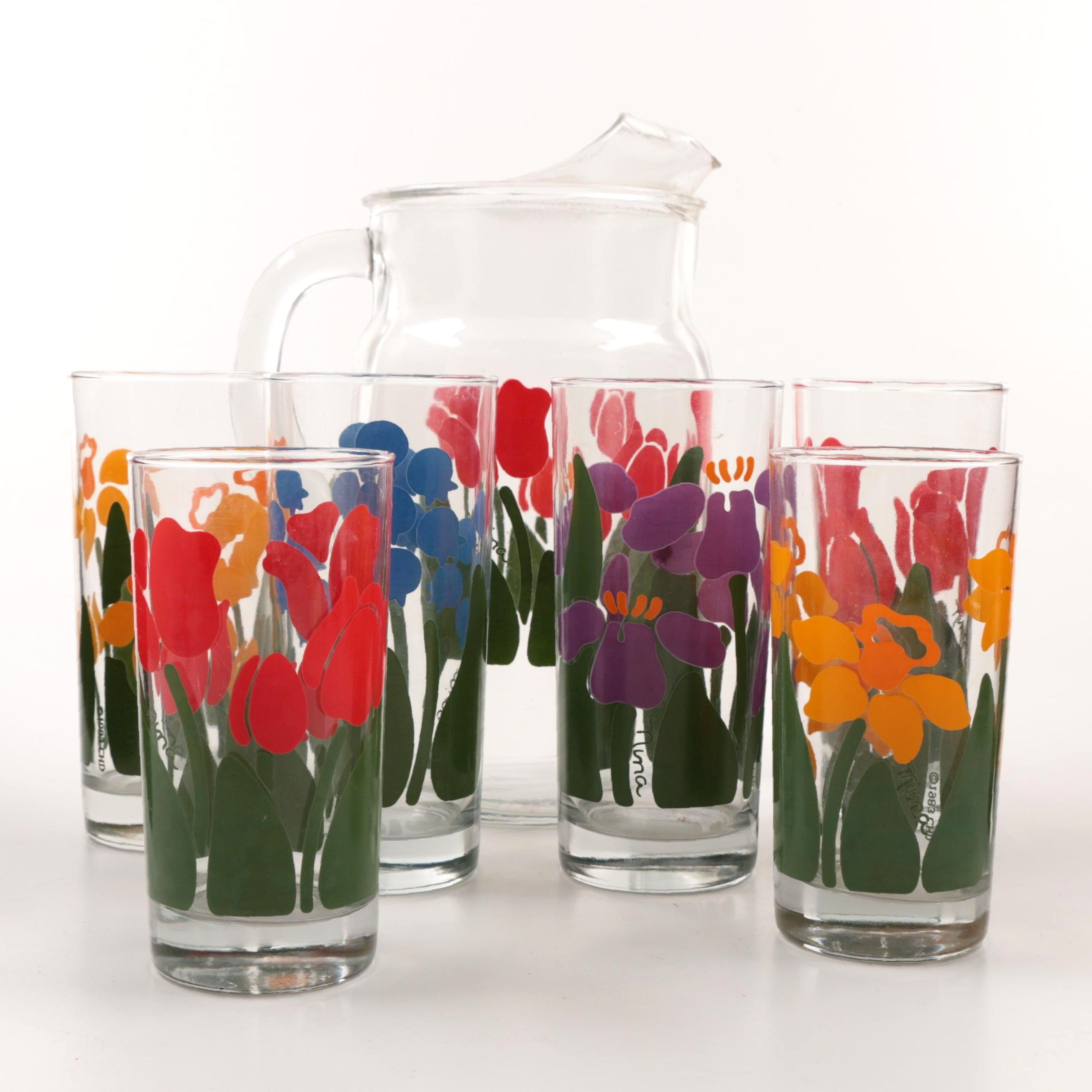 """Vintage Anchor Hocking """"Nina"""" Tulip-Themed Glass Pitcher and Tumblers"""