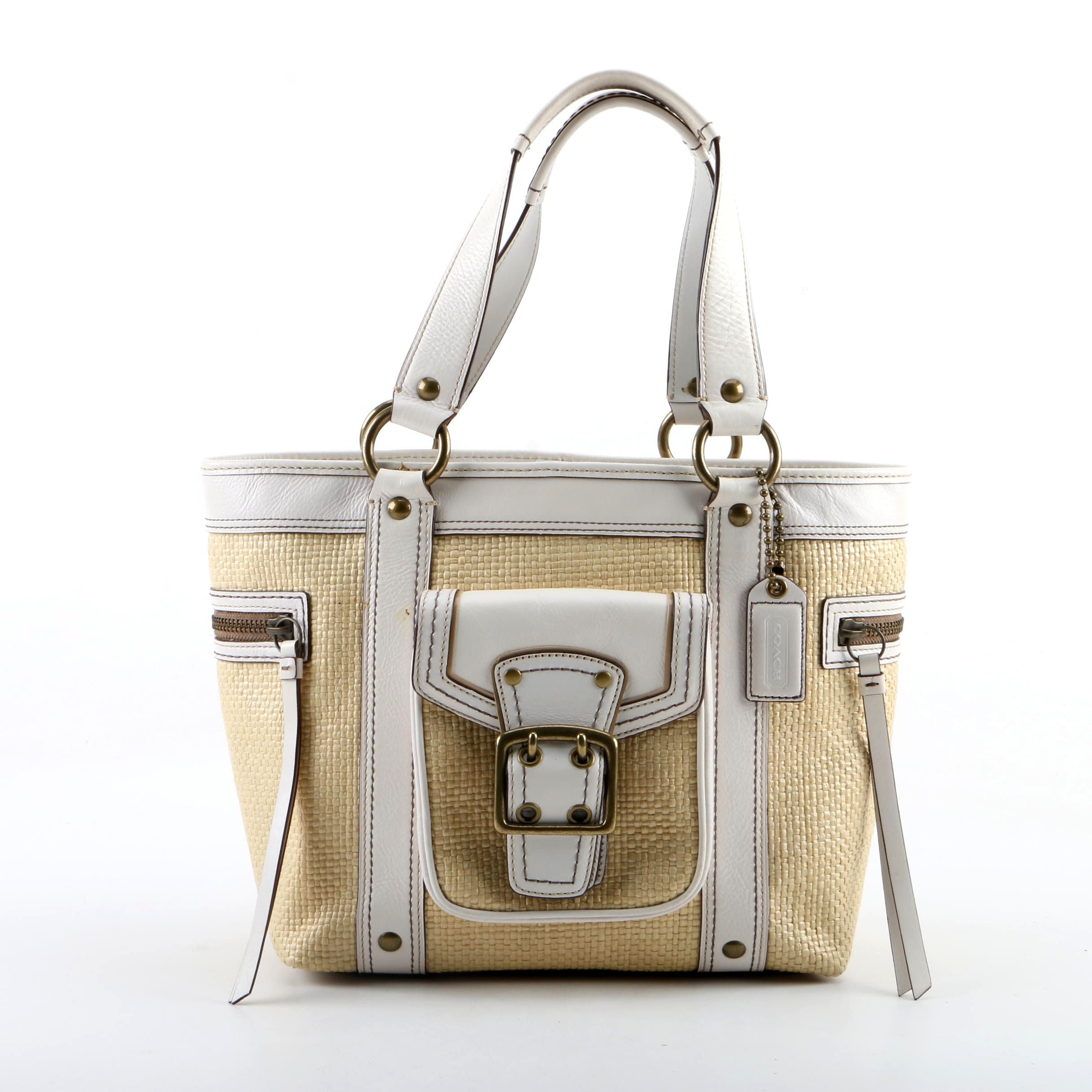 Coach Legacy Woven Straw Tote with White Leather Trim