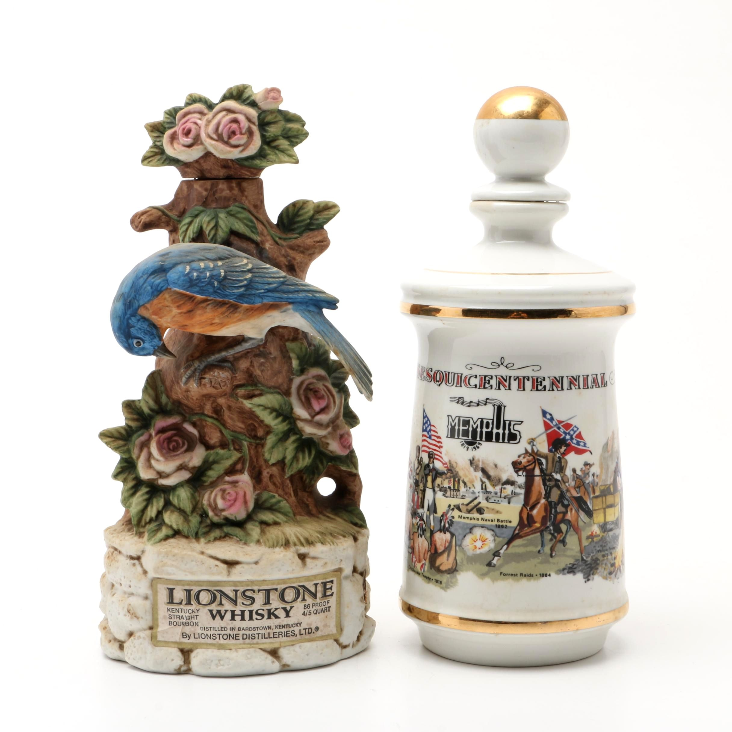 Memphis Themed Stitzel Weller Decanter and Lionstone Whisky Decanter