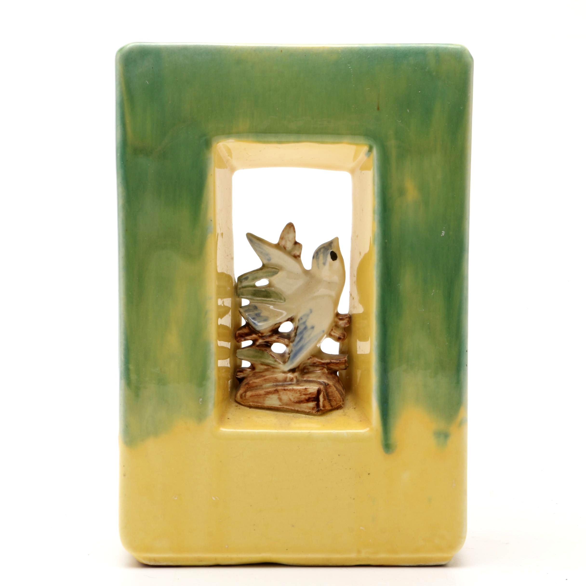 "Vintage McCoy ""Arcature"" Vase with Bird Figurine"