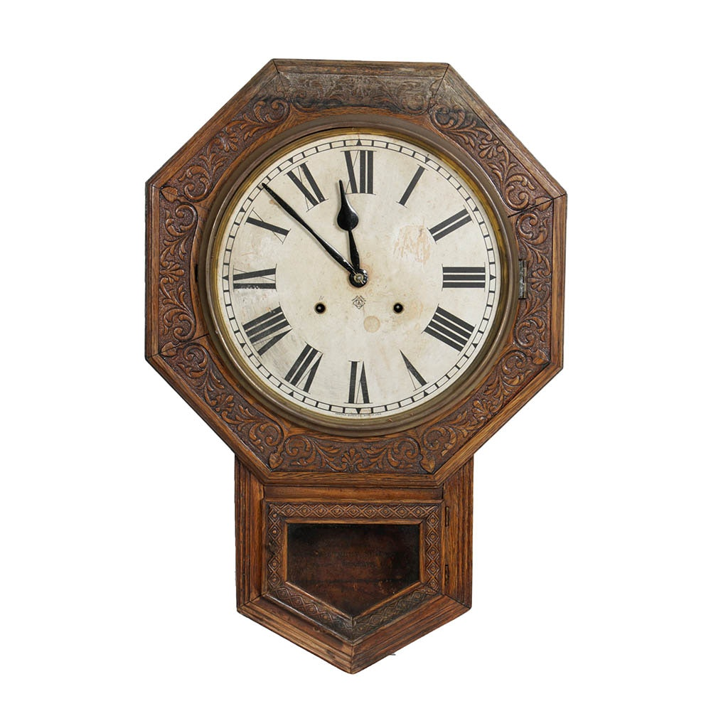 Vintage Carved Ansonia Wood Wall Clock