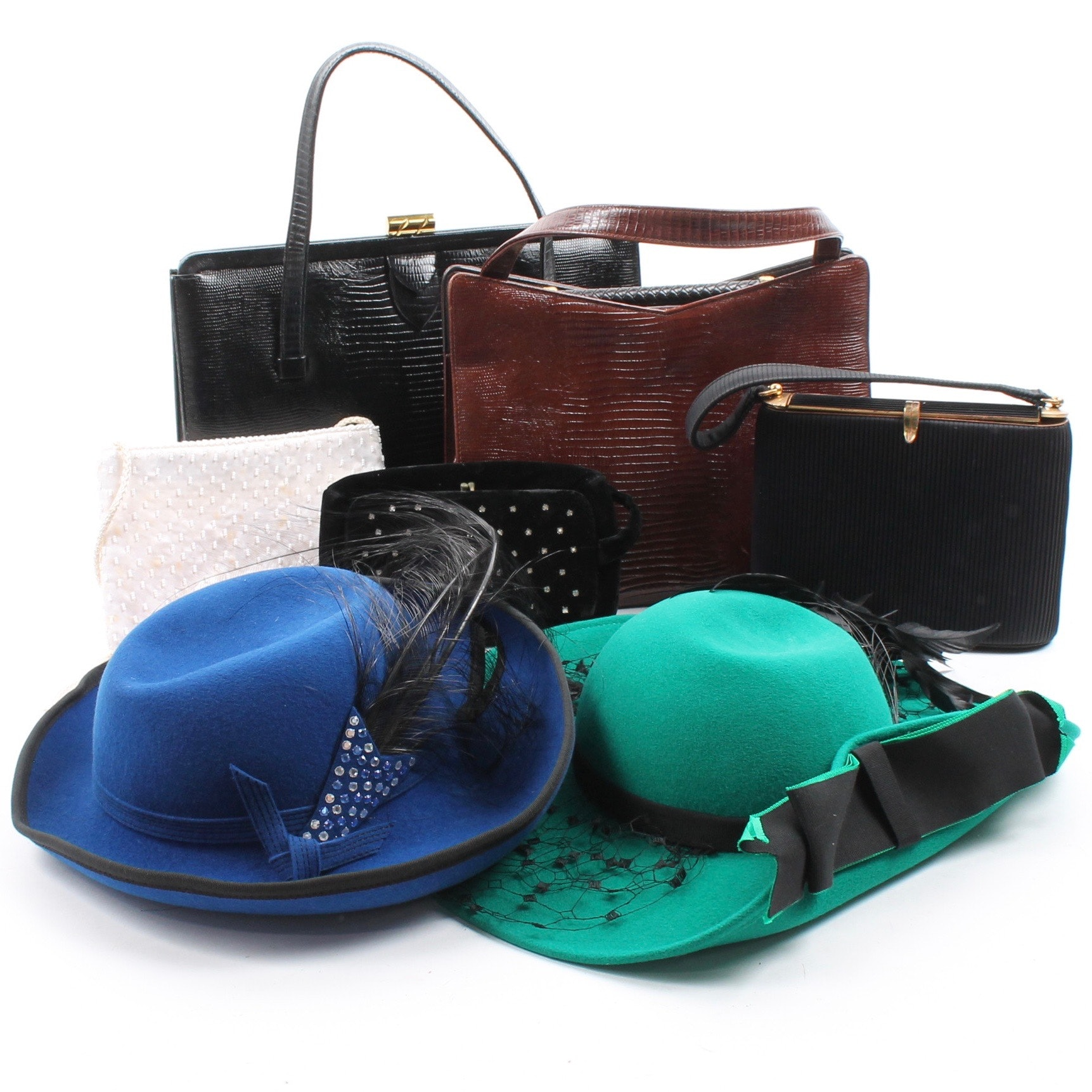 Women's Vintage Felted Hats and Handbags