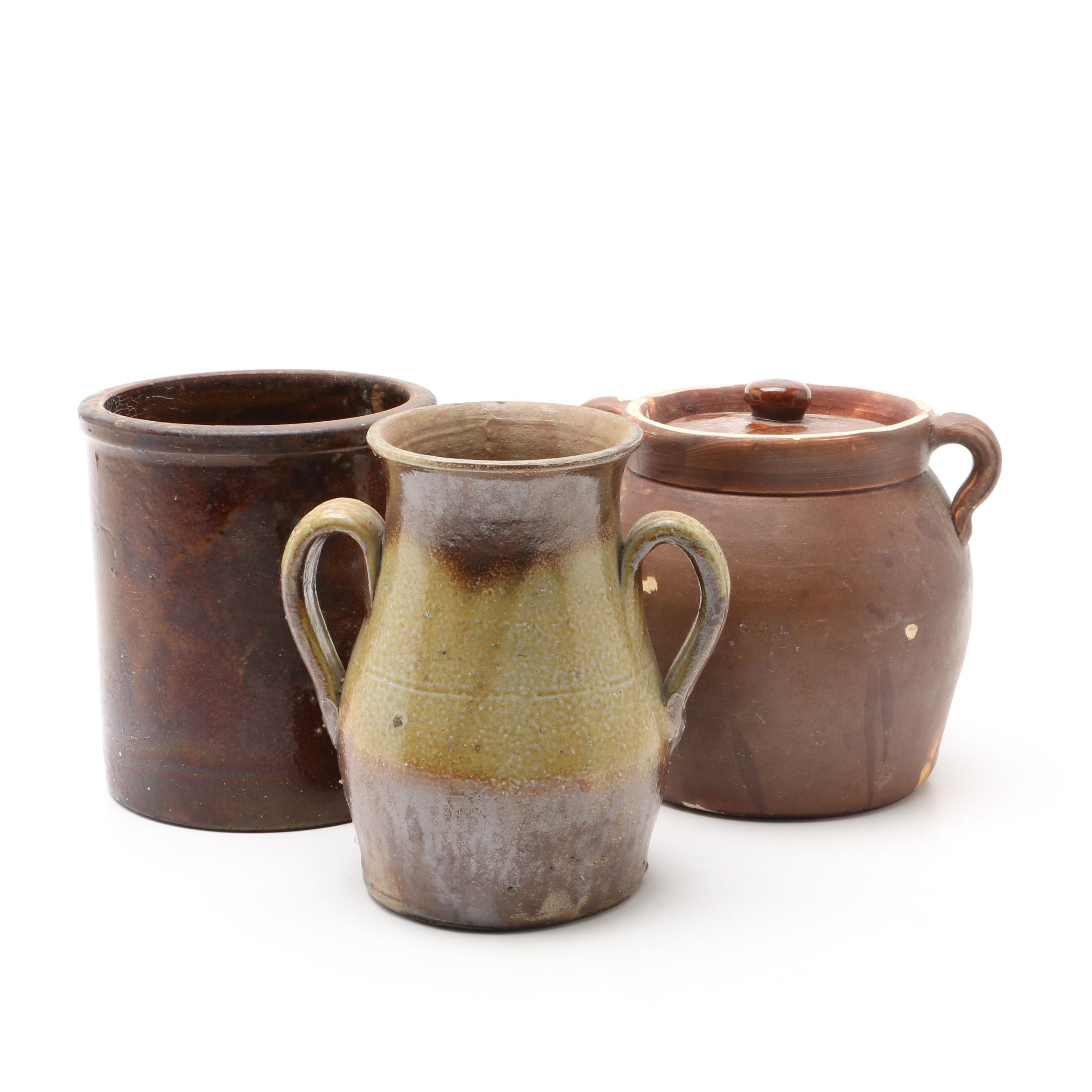 Three Vintage Pottery Vessels Including a Lidded Bean Pot