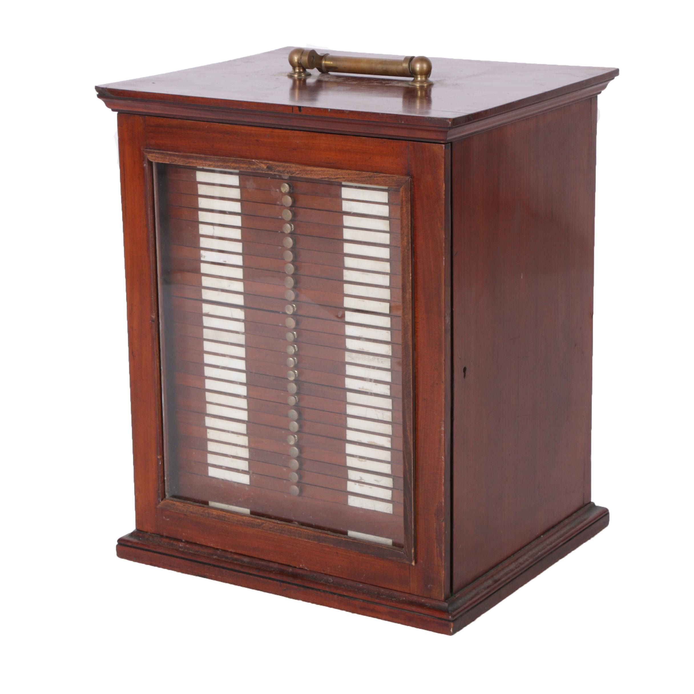 Antique Mahogany Microscope Slide Cabinet by R. & J. Beck