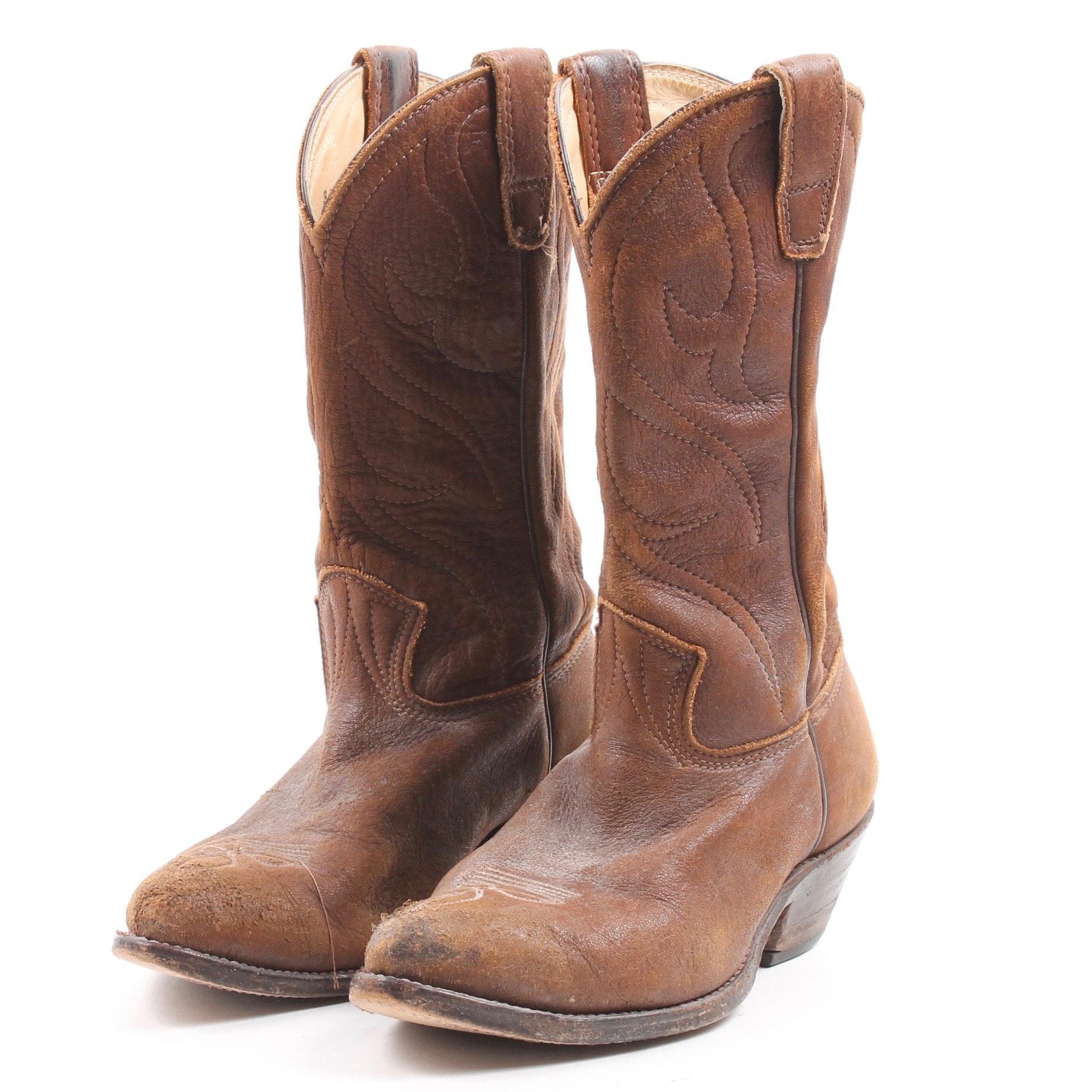 1977 Vintage Stewart Brown Raw Leather Cowboy Boots
