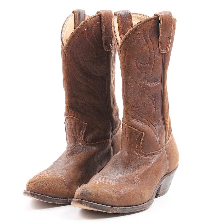 714c90c84f0 1977 Vintage Stewart Brown Elk Hide Cowboy Boots