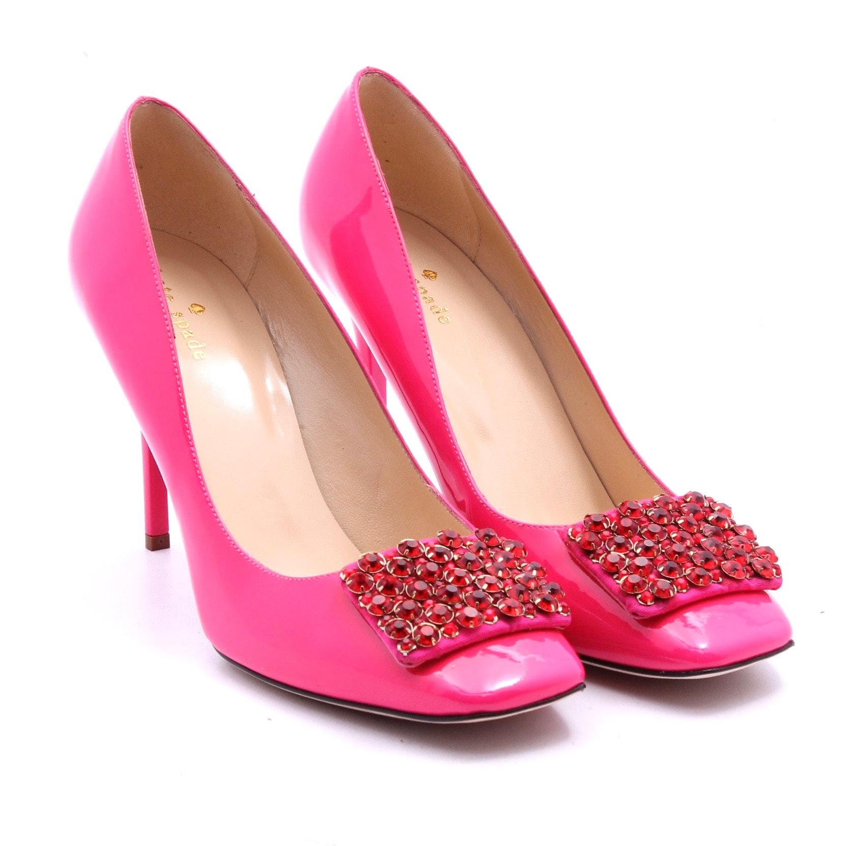 "Kate Spade New York ""Happy"" Lipstick Pink Patent Leather Ruby Rhinestone Pumps"