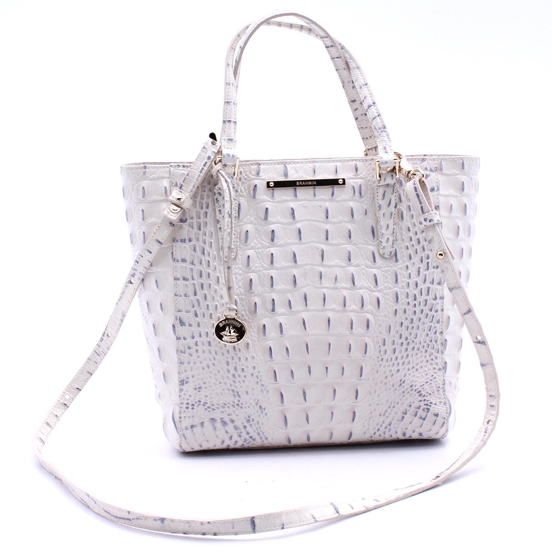 Brahmin Crocodile Embossed White Patent Leather Handbag
