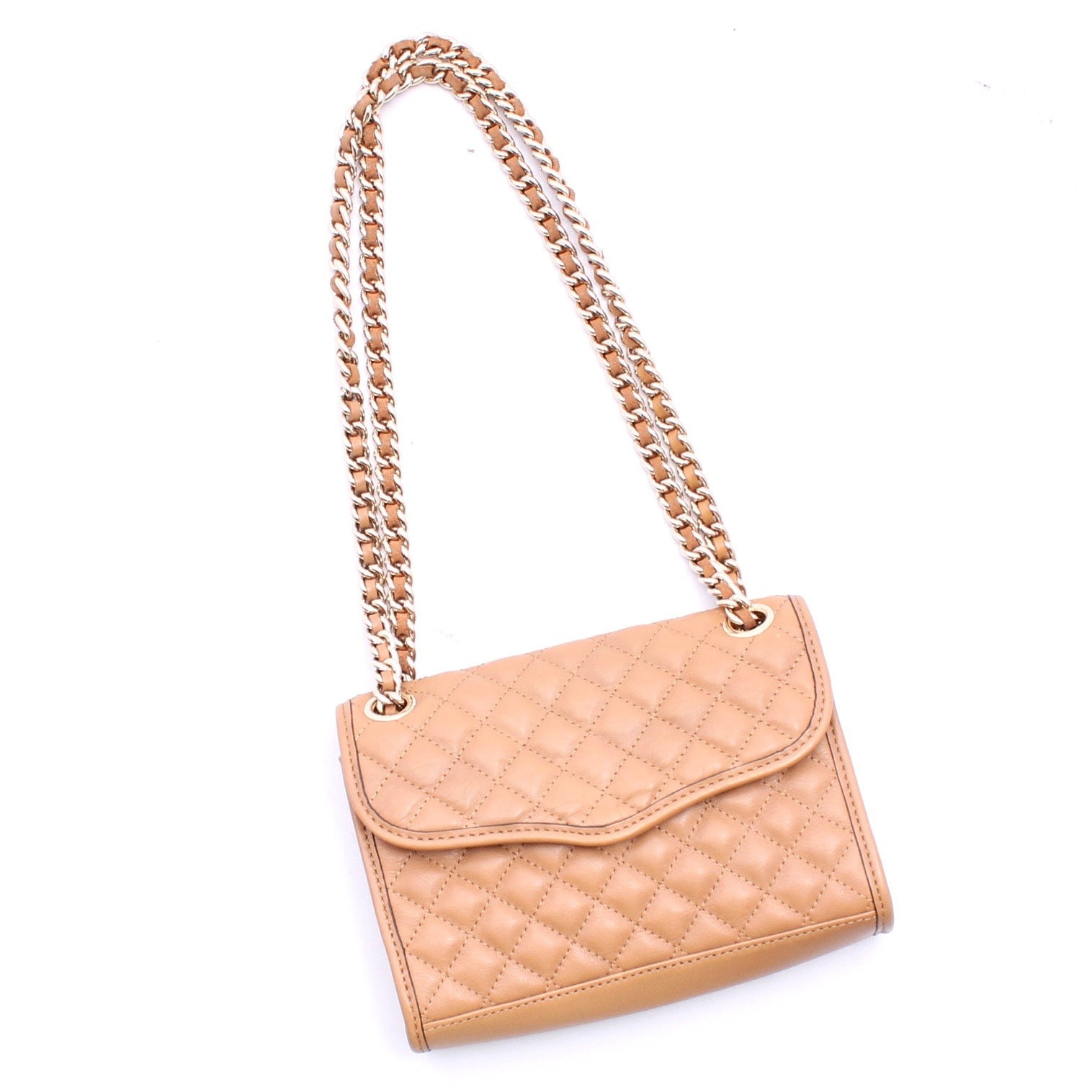 Rebecca Minkoff Tan Quilted Leather Chain Strap Shoulder Bag