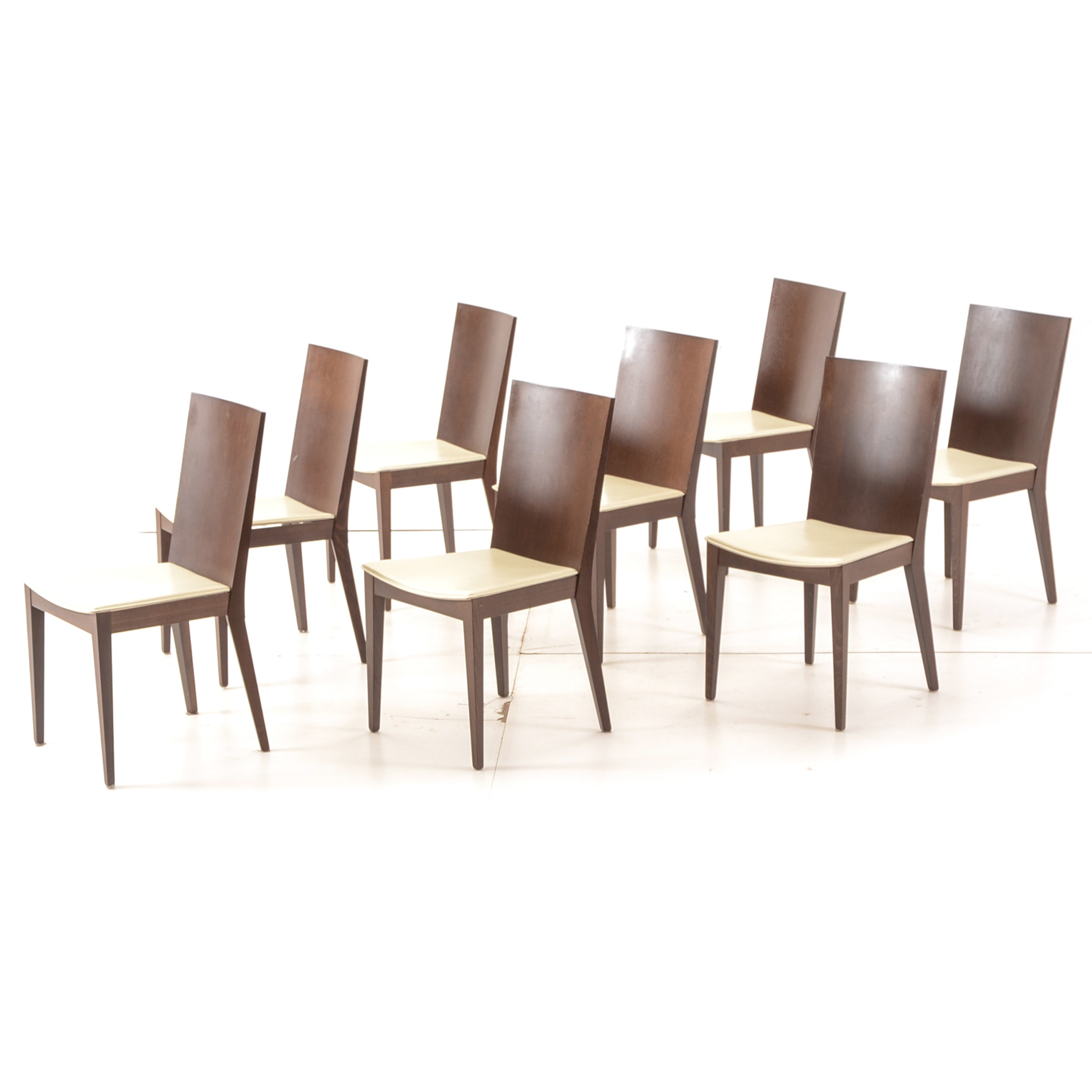 Set of Eight Leather Seated Dining Chairs by Calligaris