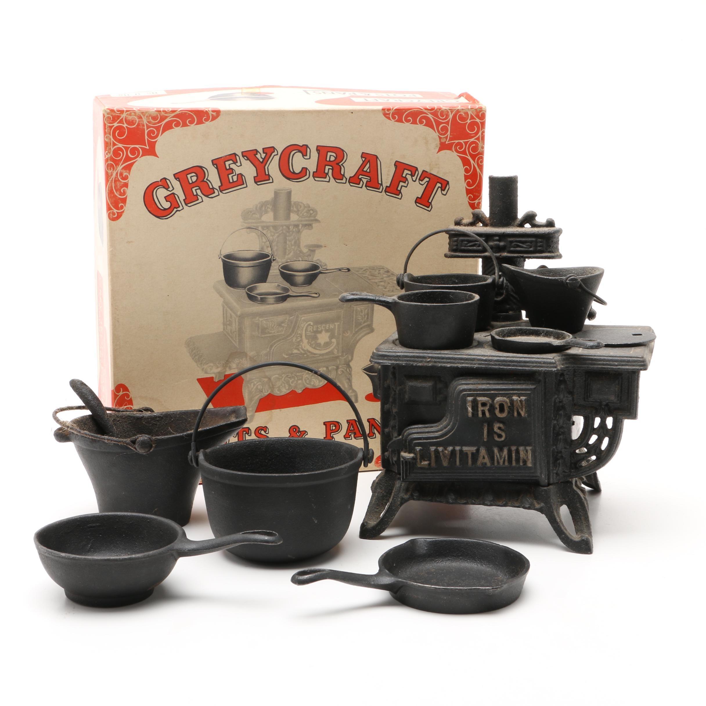 "Salesman Sample ""Iron Is Livitamin"" Cast Iron Stove and Greycraft Pans"
