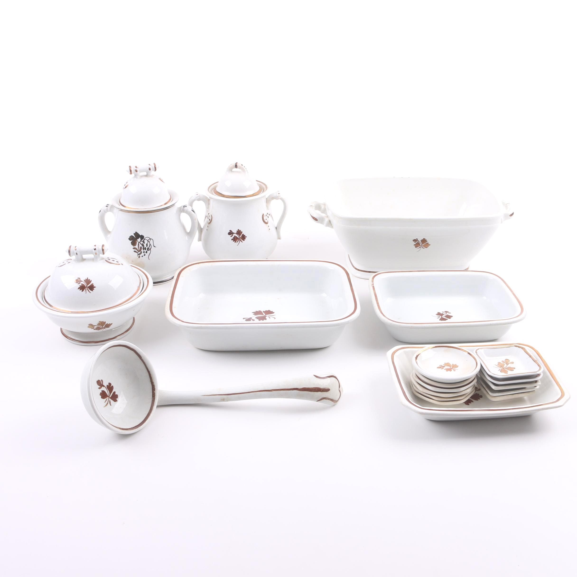 "Antique ""Tea Leaf"" Ironstone Serveware Featuring Mellor, Taylor & Co."