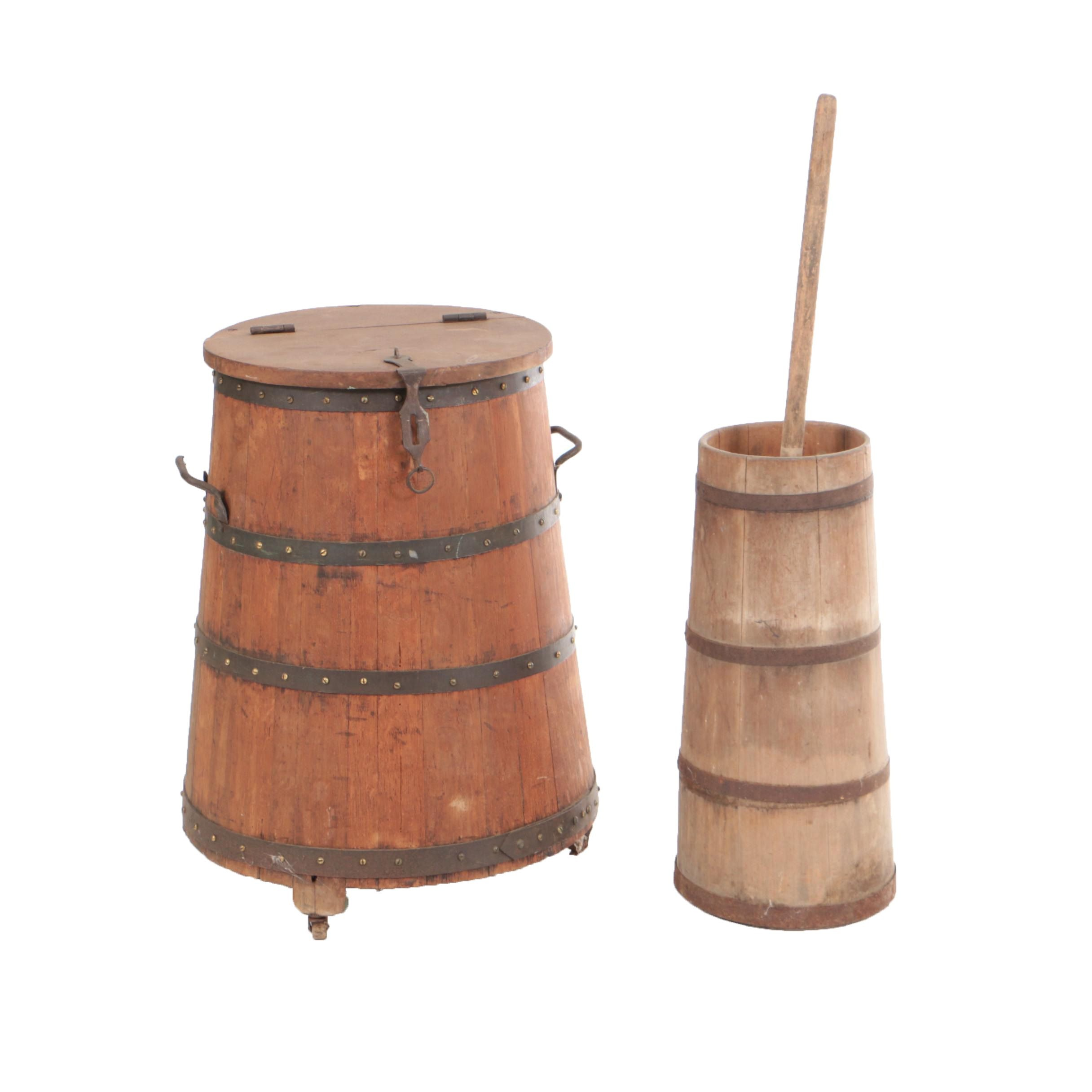 Antique Staved Butter Churn and Hinged-Lid Barrel