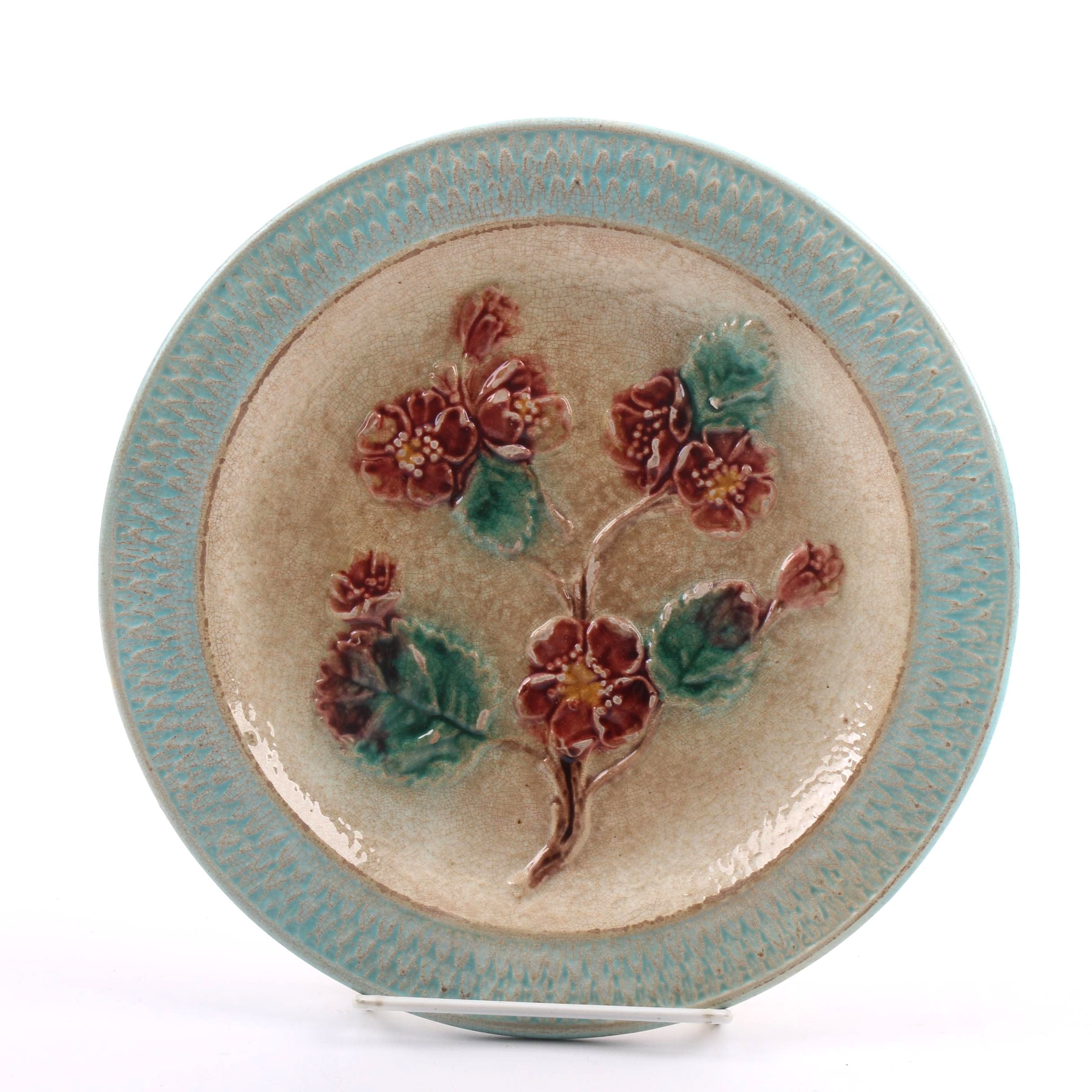 Antique Floral-Themed Majolica Plate