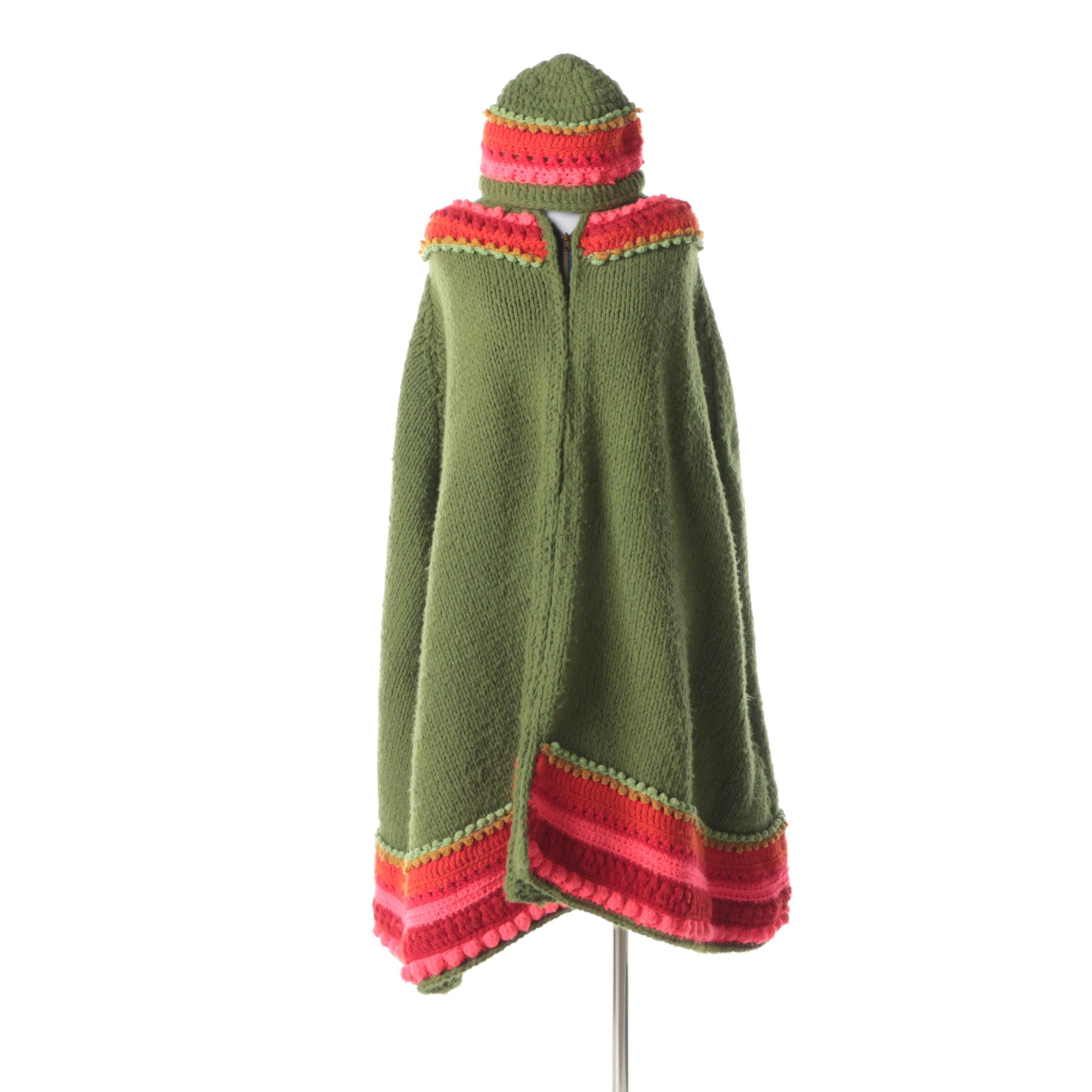 Vintage Oliver Green, Red and Fuchsia Crocheted Poncho with Matching Hat