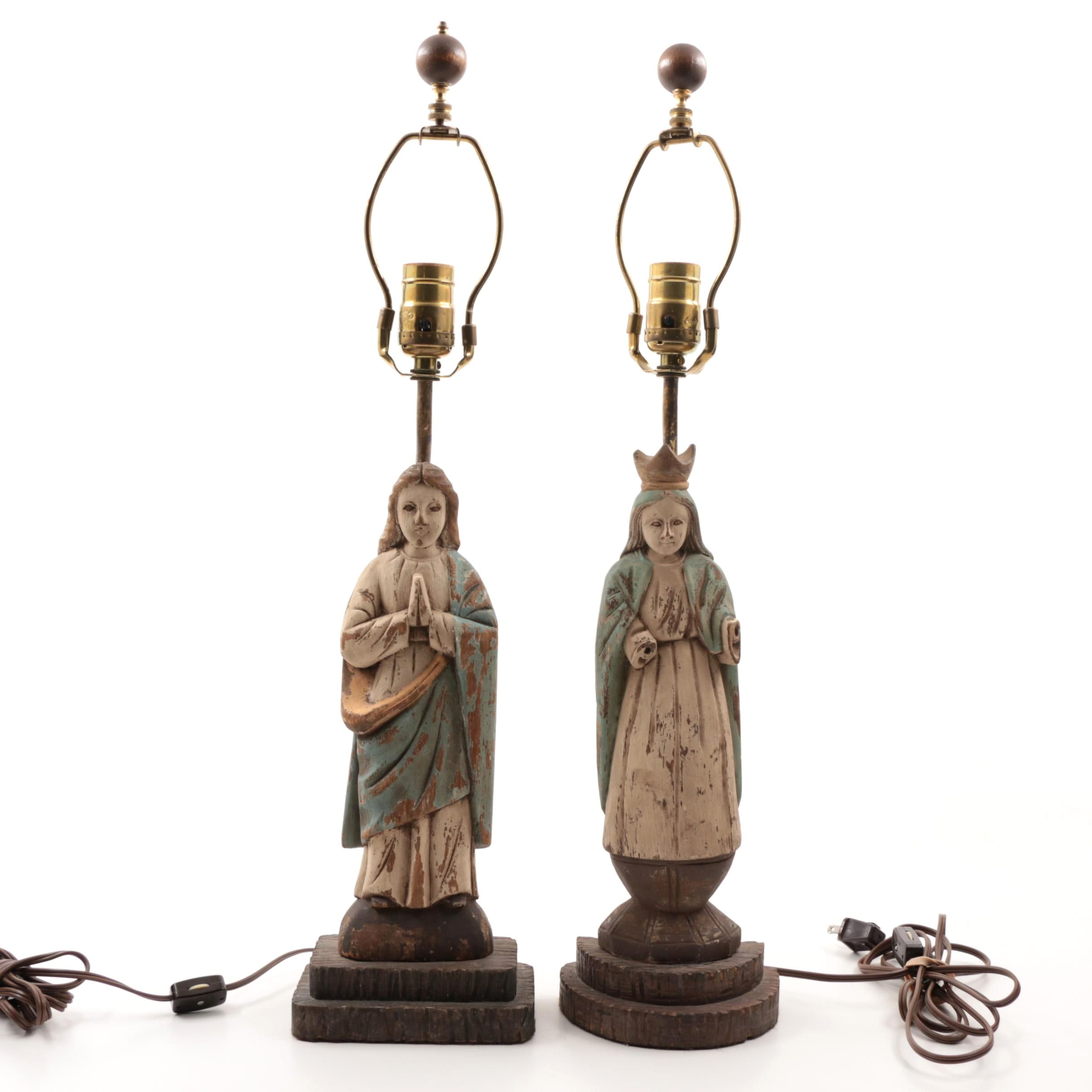 Antique Carved Wooden Santos Table Lamps