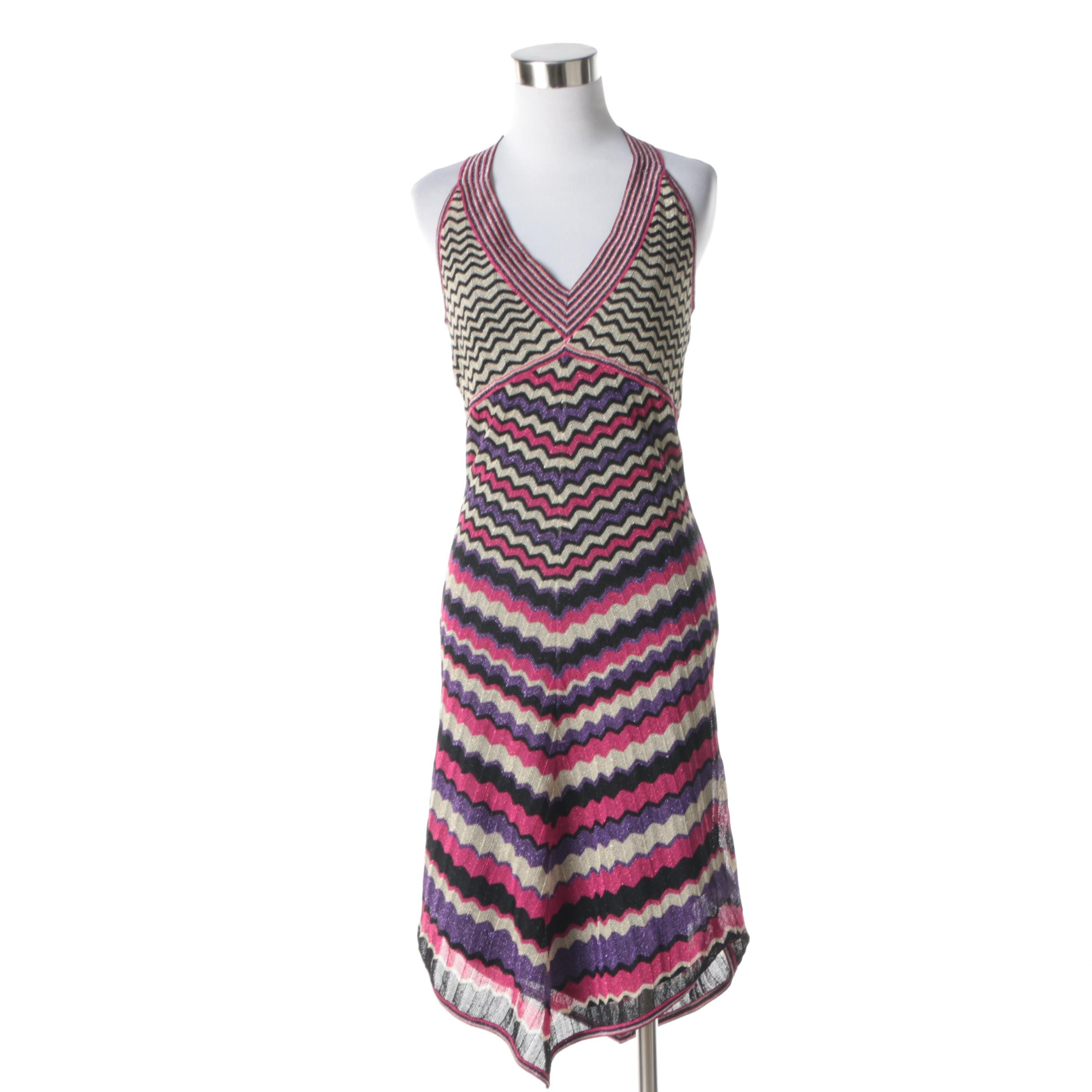 Karen Millen Pink, Black and Purple Chevron Knit Halter Dress