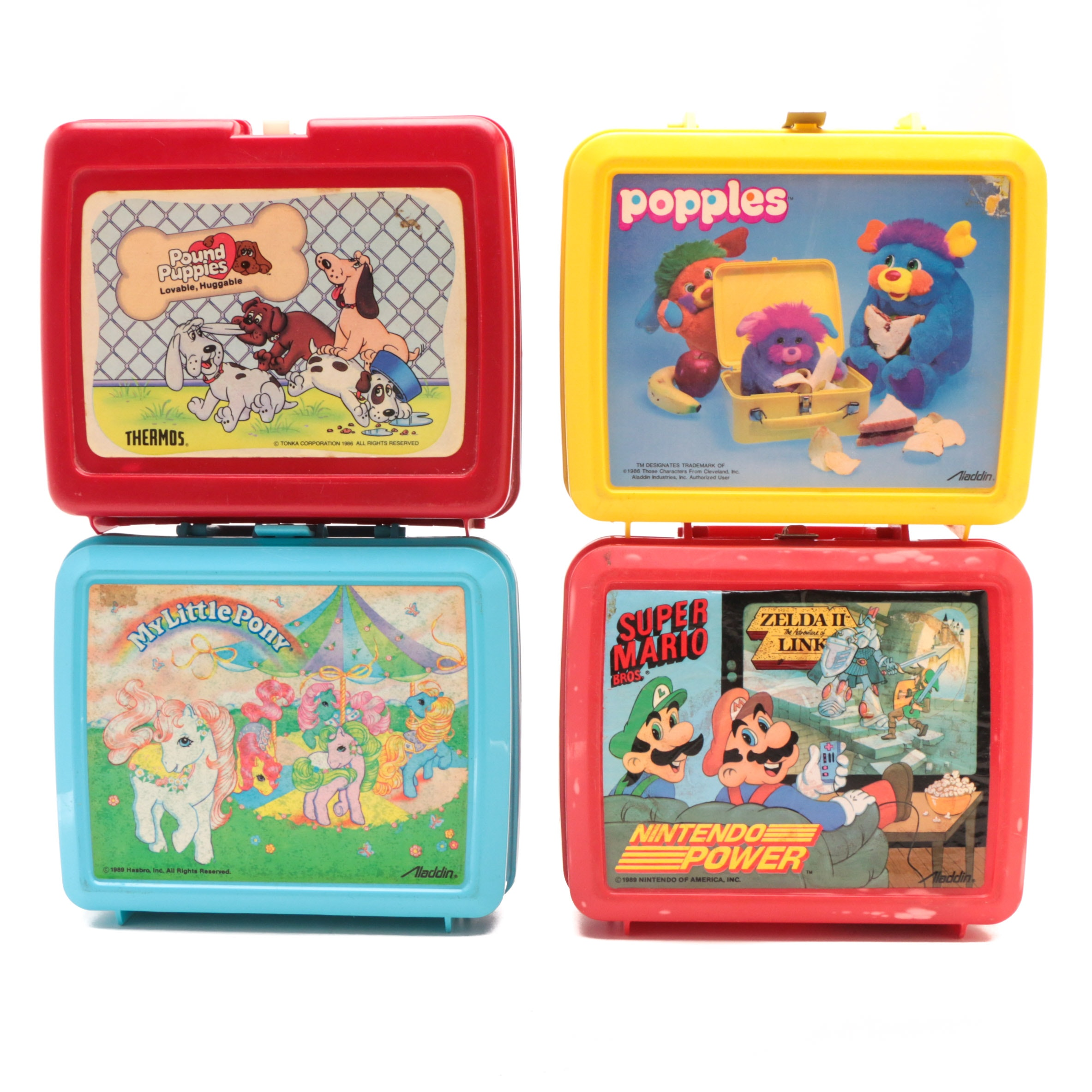 Vintage School Lunchboxes with Thermos Featuring Super Mario Bros.