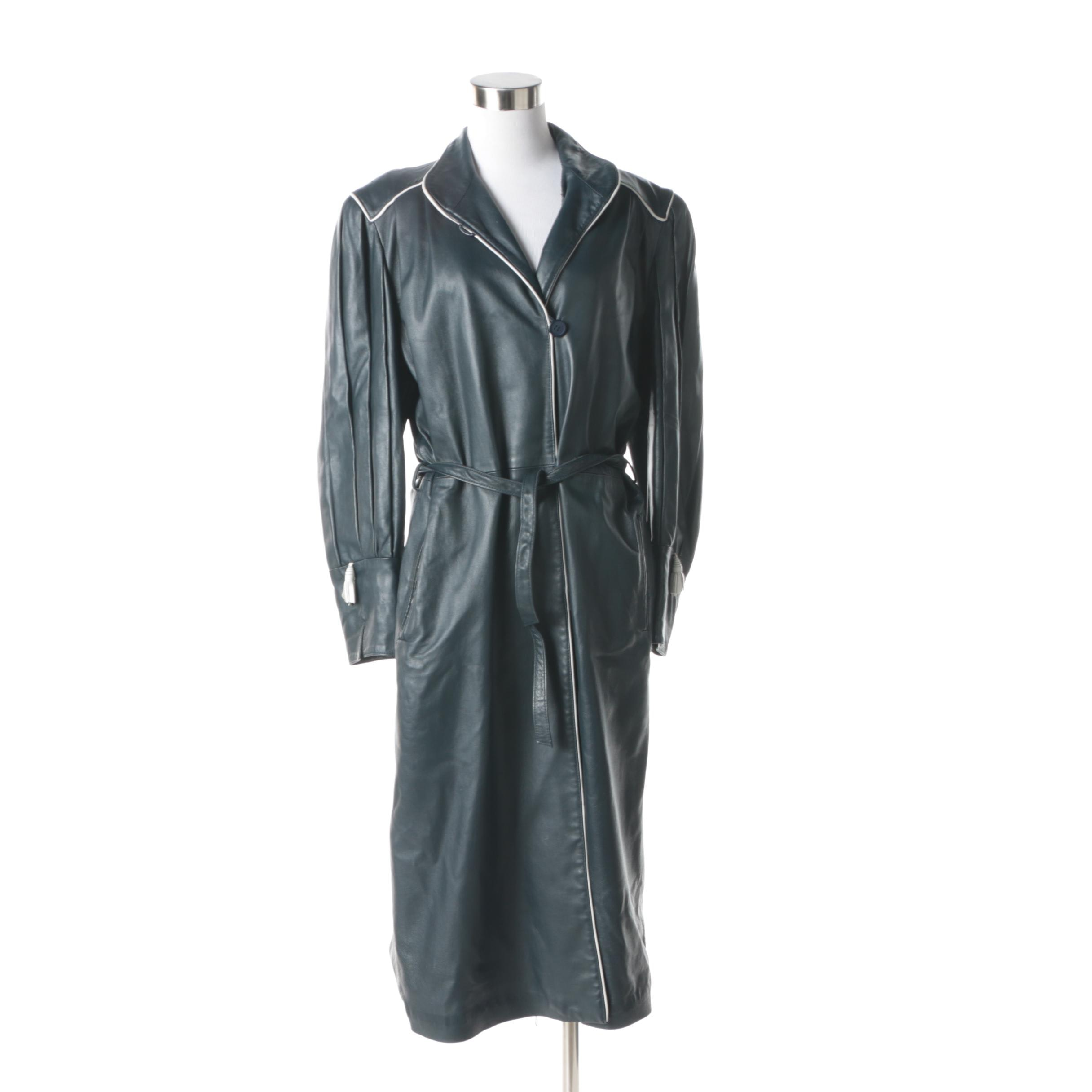 1980s Vintage Full-Length Navy Blue Leather Coat with White Trim