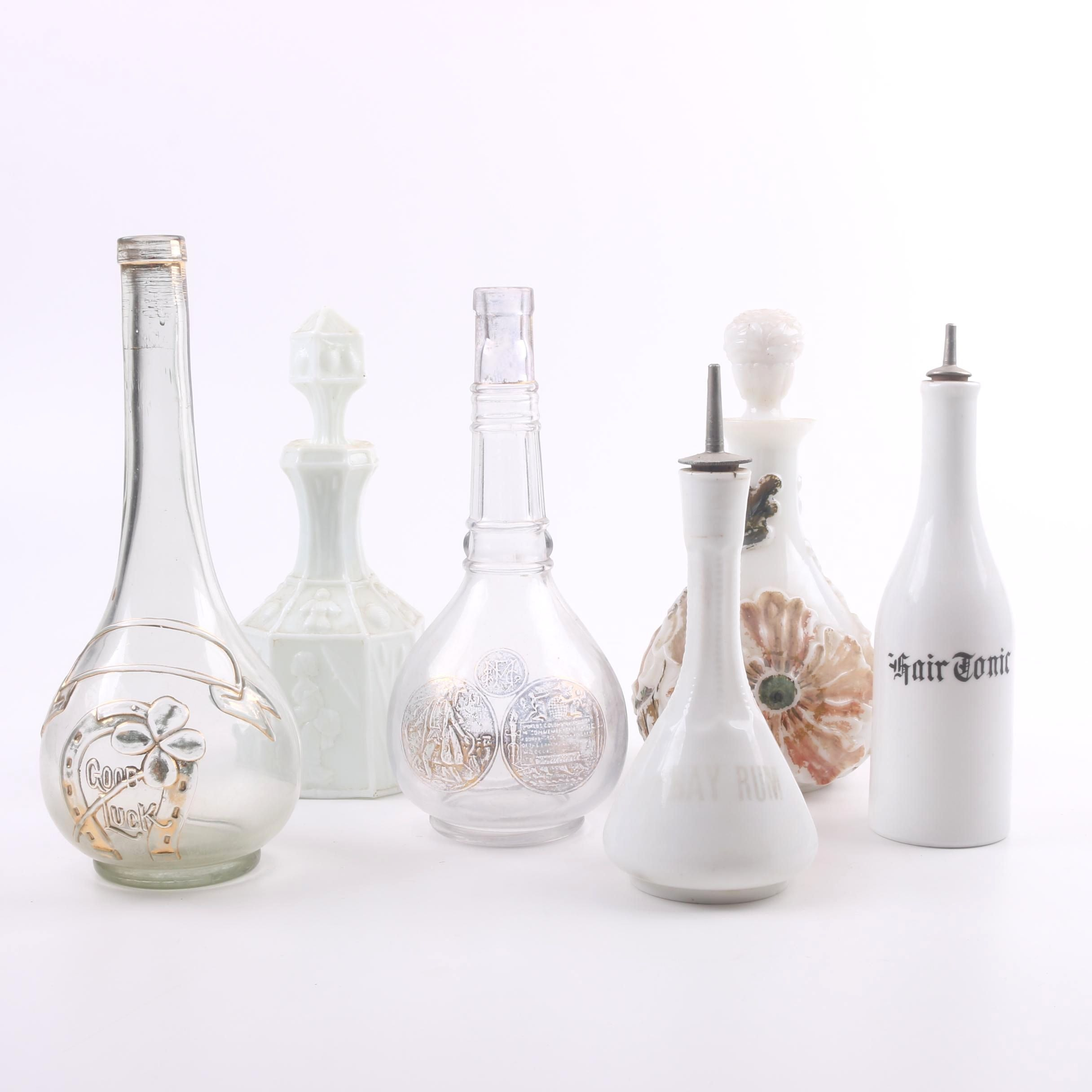 Vintage Glass and Milk Glass Decanters and Bottles