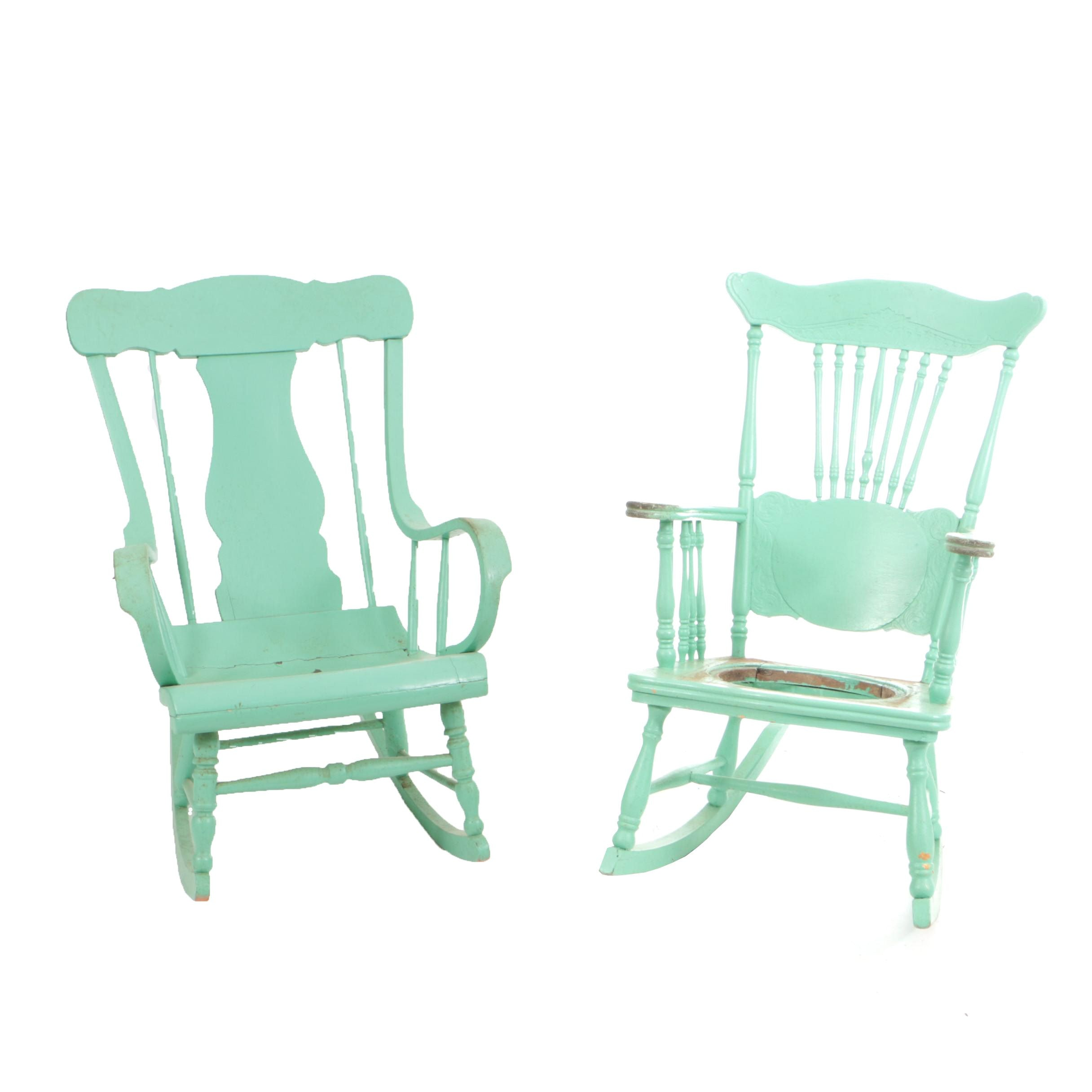 Antique Late Victorian Rocking Chairs in Later, Green Paint
