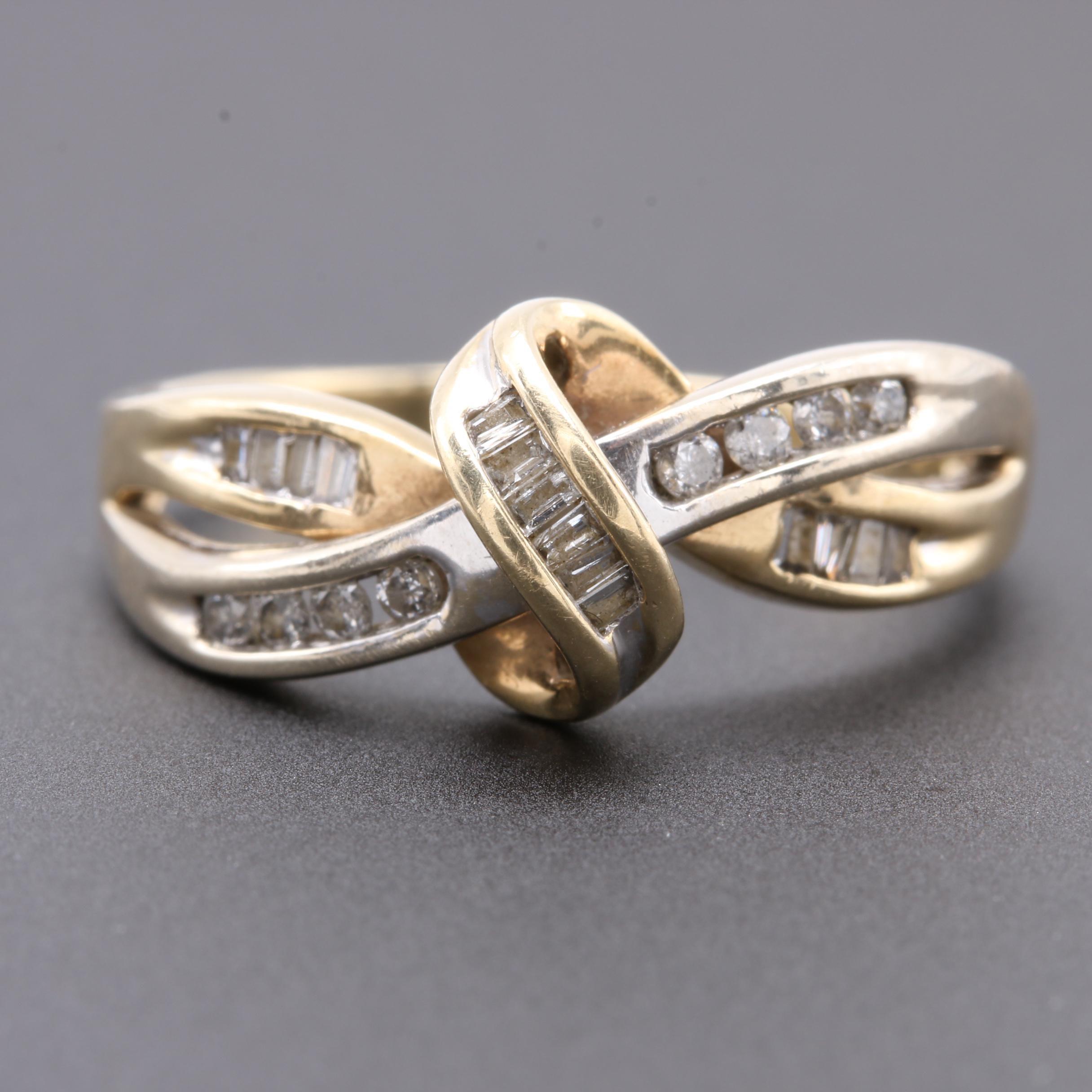 10K Yellow Gold Diamond Crisscross Ring