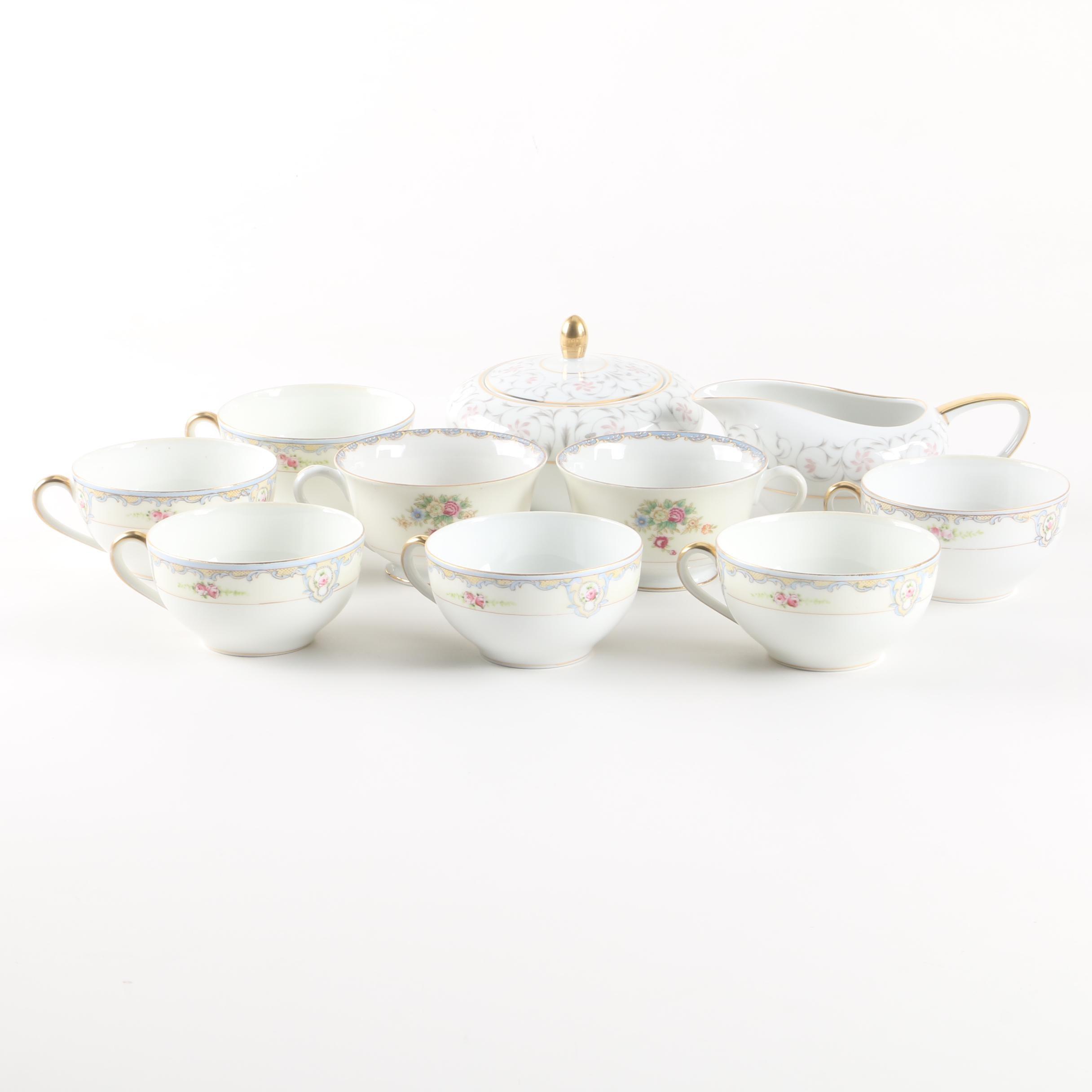 "Japanese Porcelain Teacups with Mikasa ""Lambeth"" Creamer and Sugar Bowl"