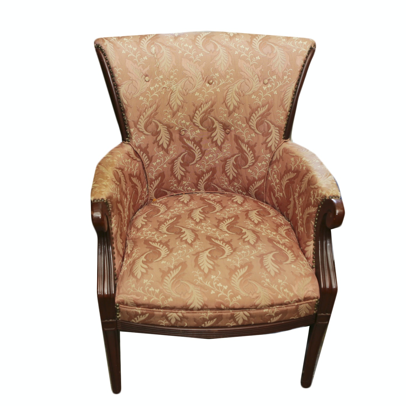 Vintage Neoclassical Style Upholstered Armchair