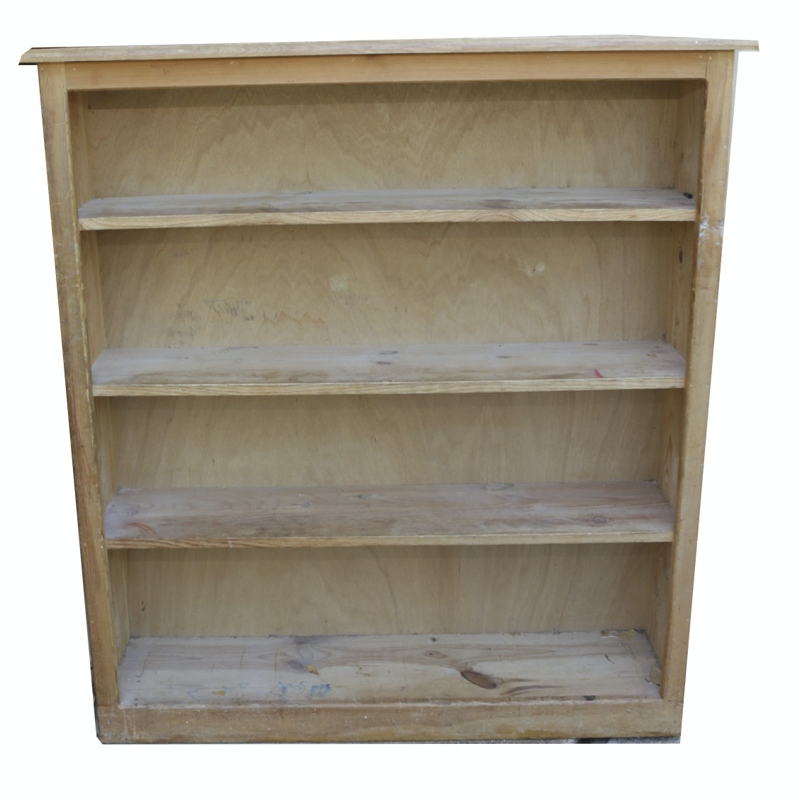 Vintage Rustic Style Pine Three-Shelf Bookcase