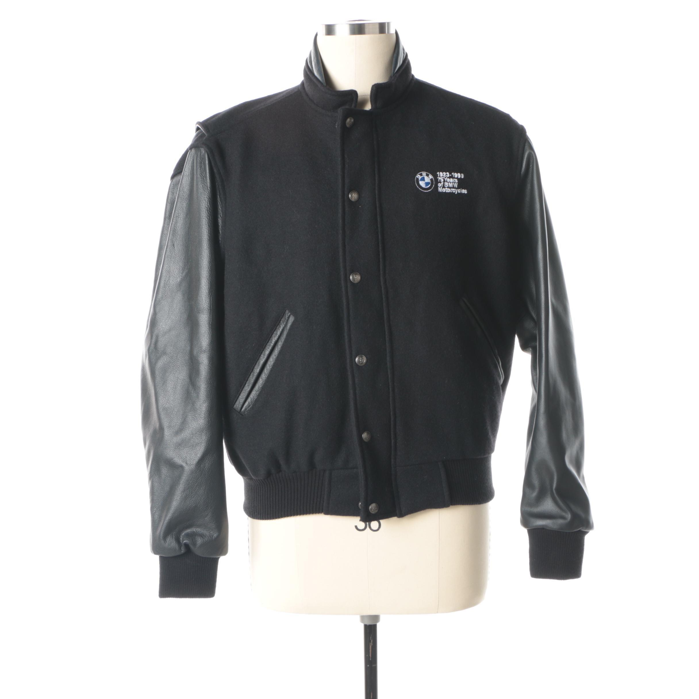 Men's BMW Motorcycles 75 Year Anniversary Black Bomber Jacket