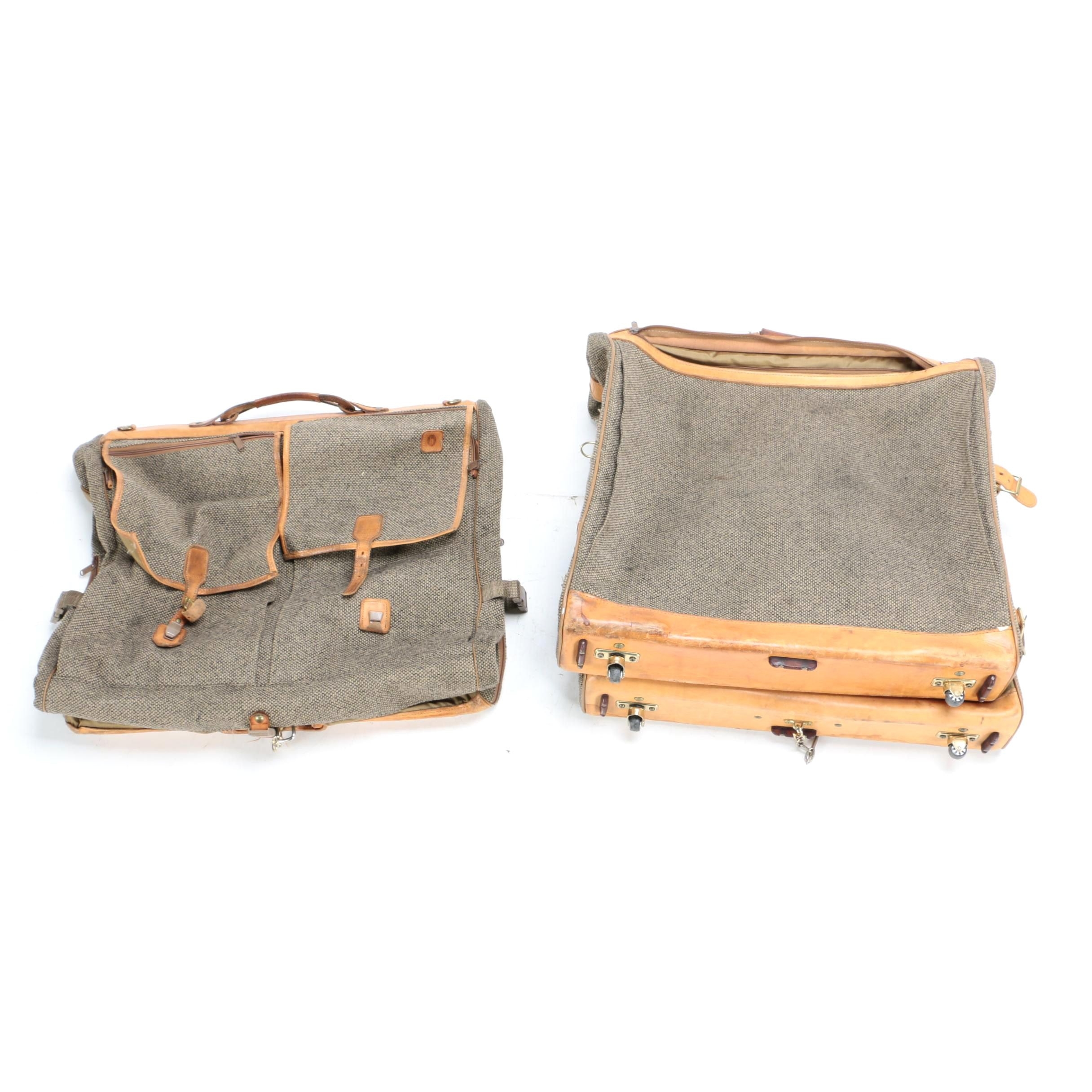 Vintage Hartmann Tweed and Leather Luggage Garment Bags