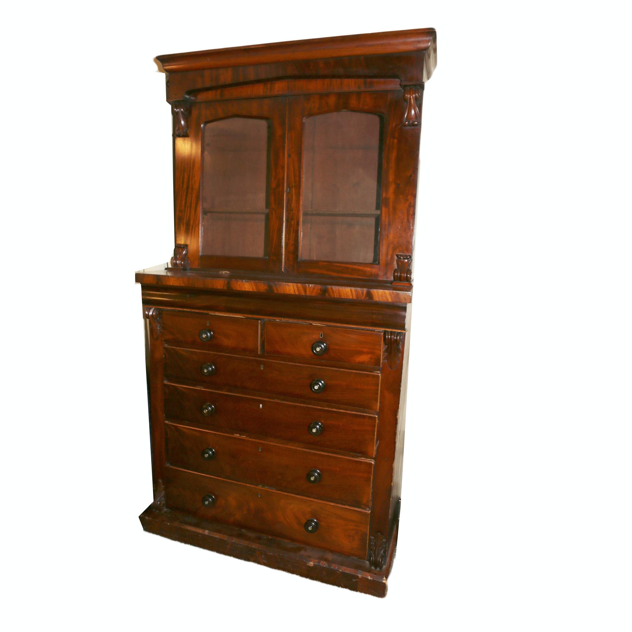 Vintage Late Victorian Style Mahogany China Cabinet