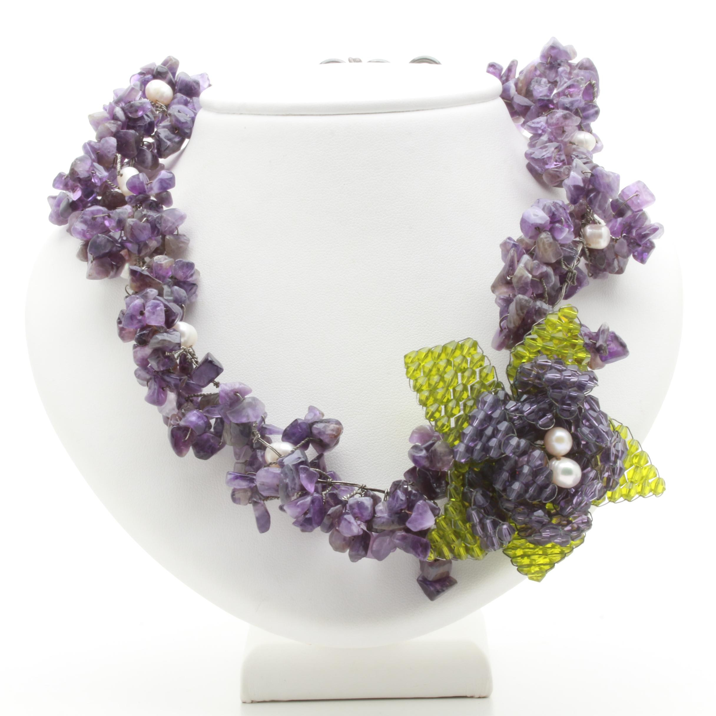 Sterling Silver Amethyst, Cultured Pearl and Glass Necklace