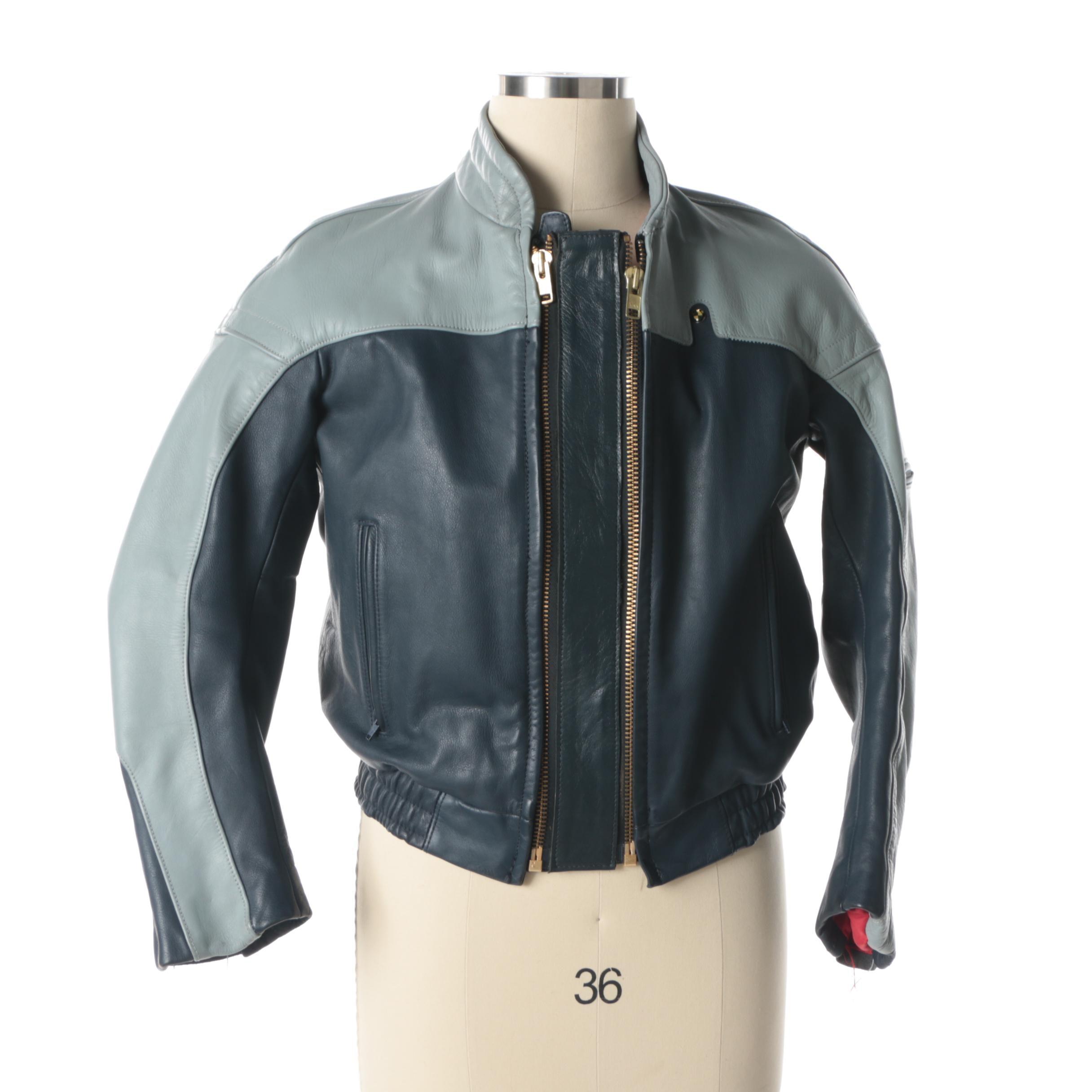 Men's Vintage BMW Leather Bomber Jacket