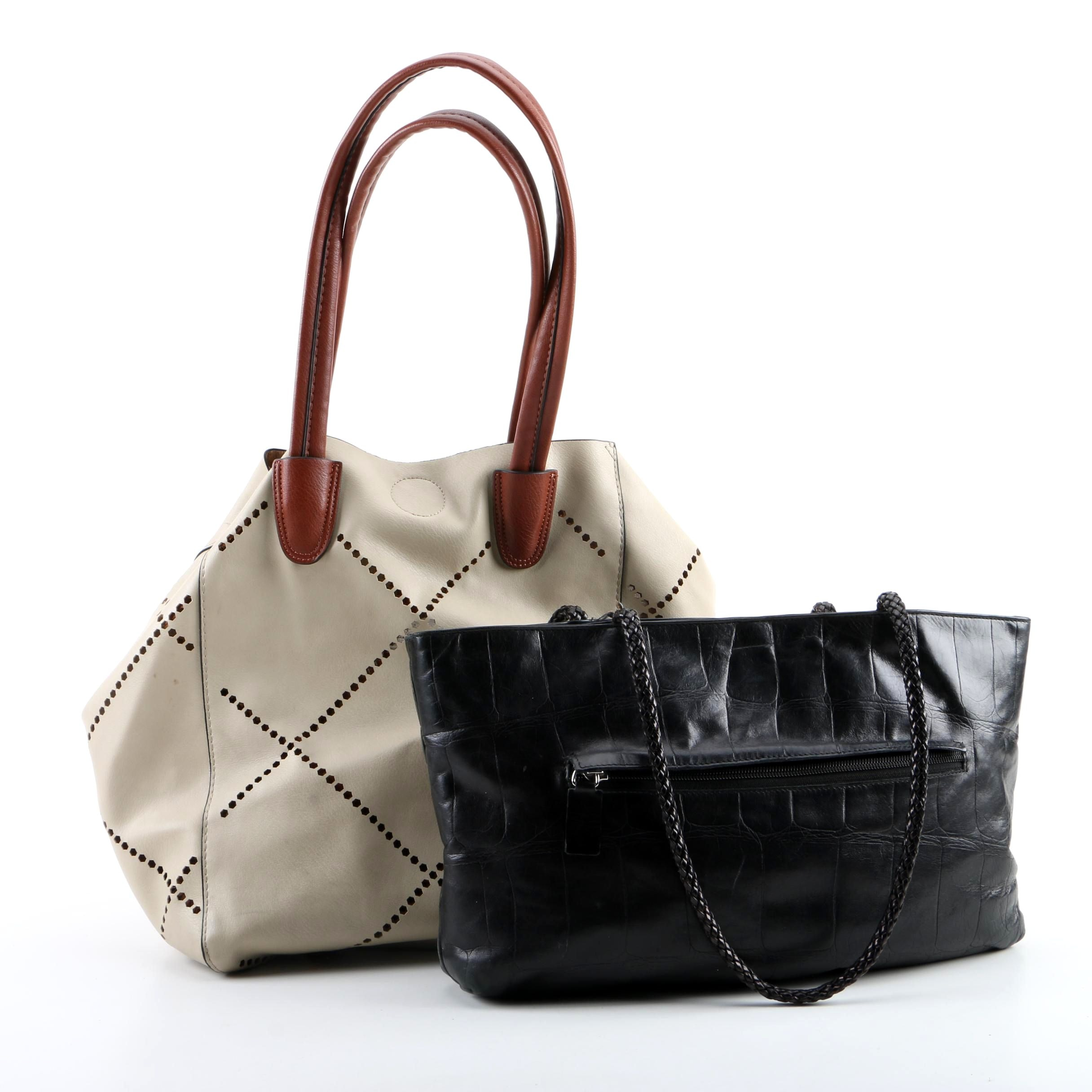 Falor Le Borse Black Embossed Leather and Louenhide White Laser Cut Leather Bags