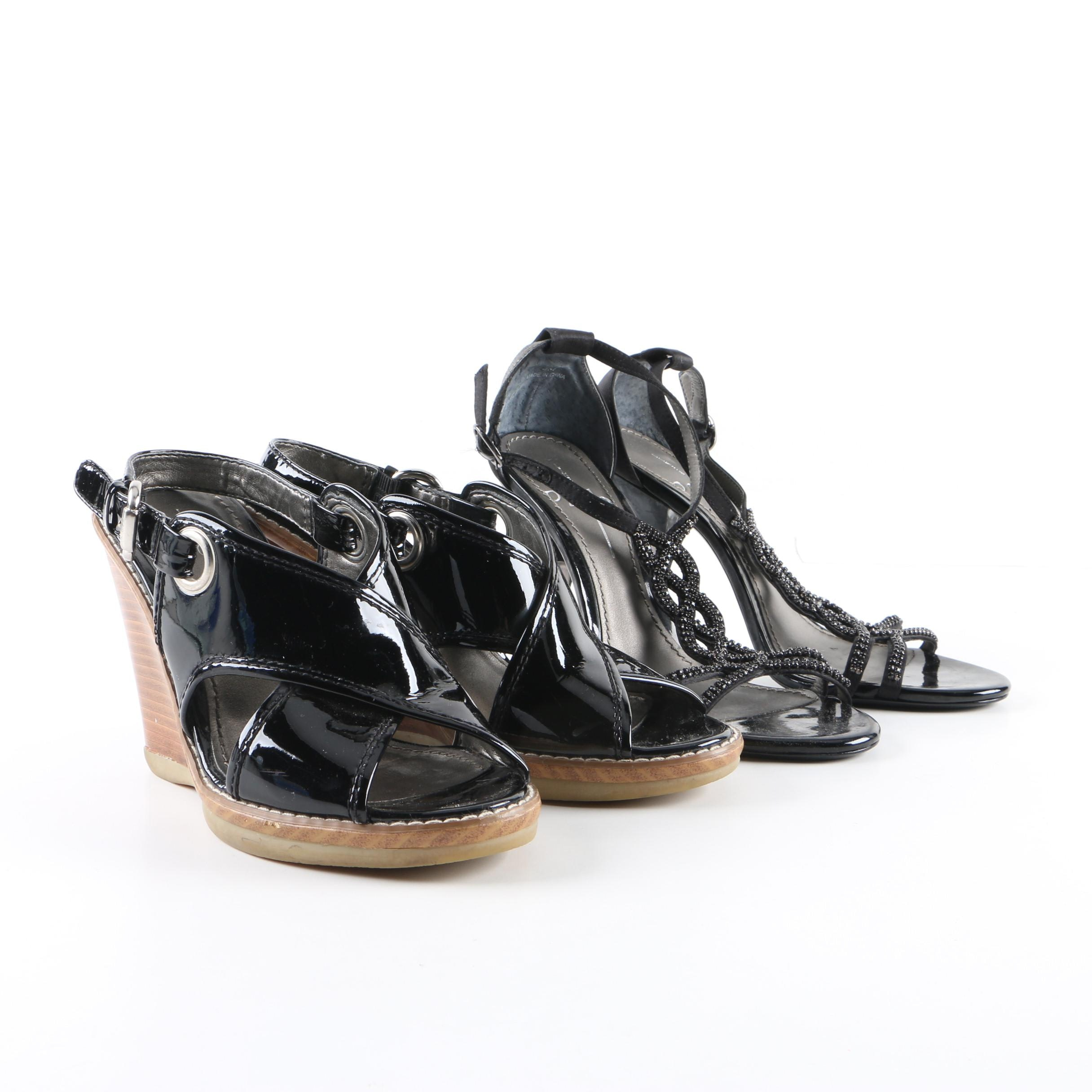 Linea Paolo Black Brisbane Wedge Slides and Glam Dress Sandals