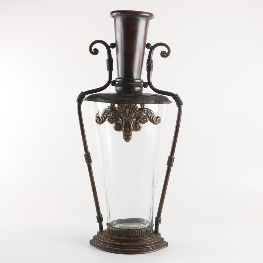 Contemporary Glass Vase With Metal Base And Embellished Opening Ebth