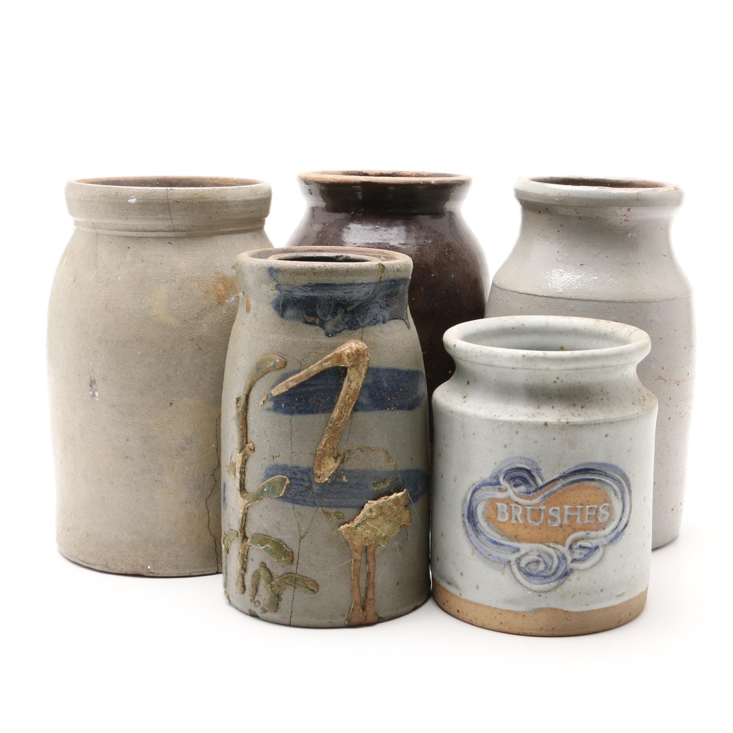 Antique and Modern Stoneware Crocks