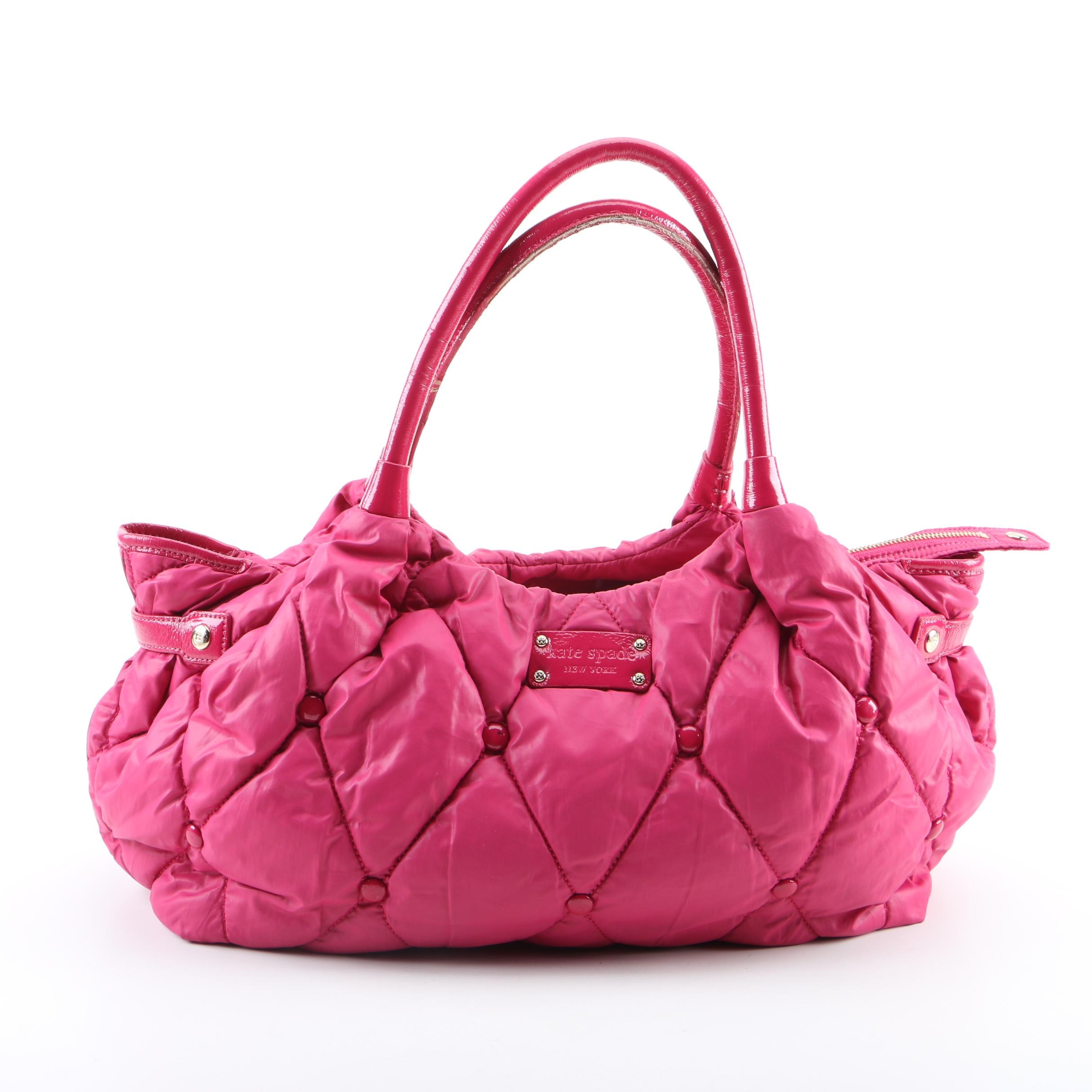 Kate Spade New York Pink Quilted Nylon and Patent Leather Tote