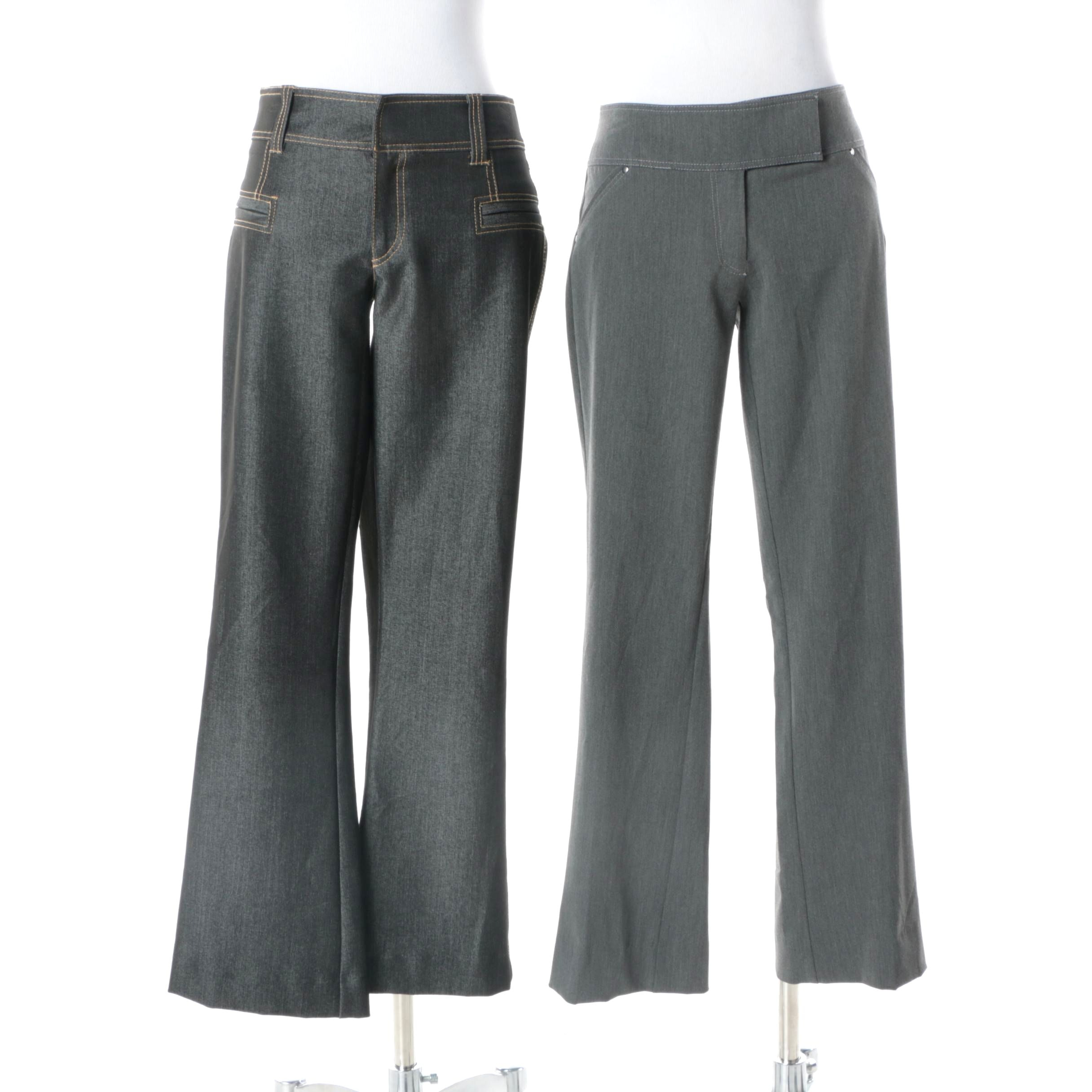Women's Caché Contour Collection Grey Poly-Blend Pants