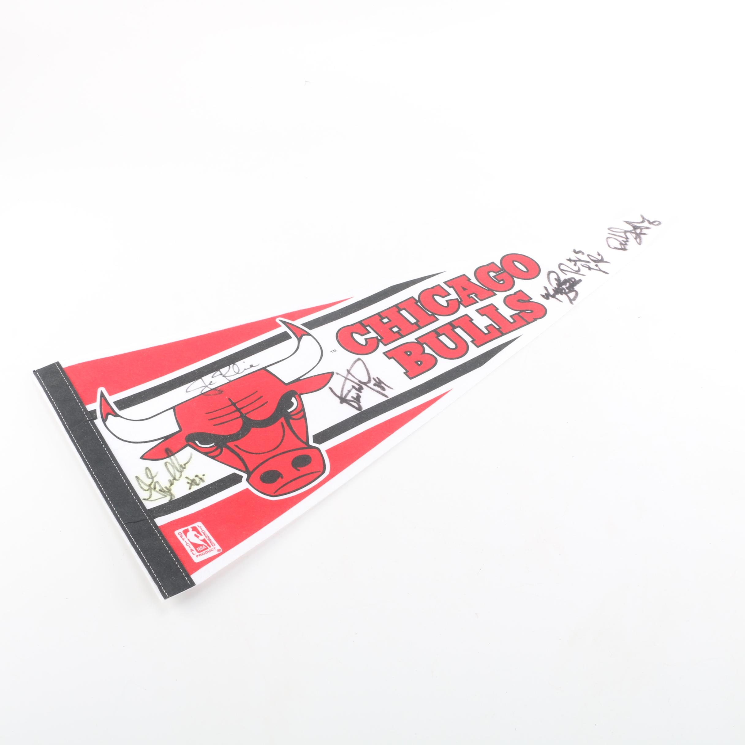 Chicago Bulls Autographed Pennant Including Bill Wennington