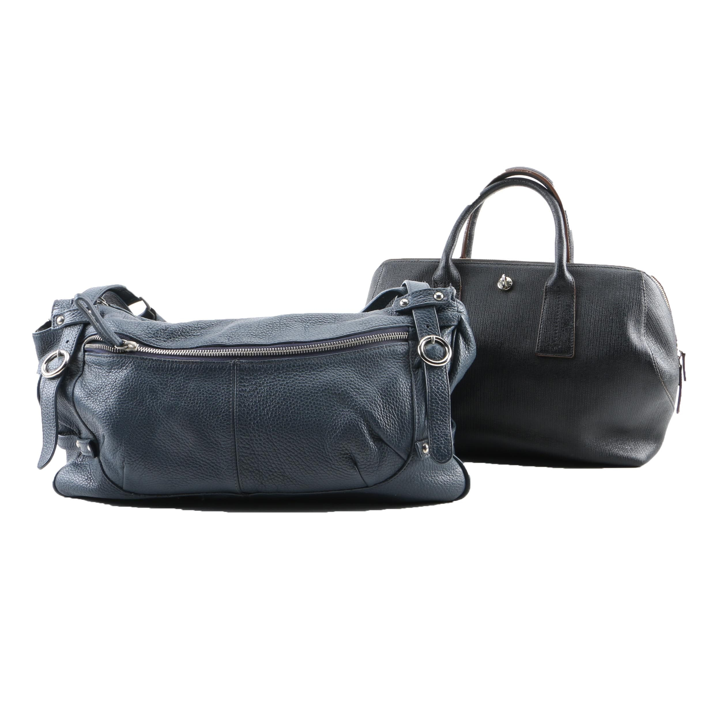 Furla Navy Blue Pebbled Leather and Black Coated Canvas Handbags