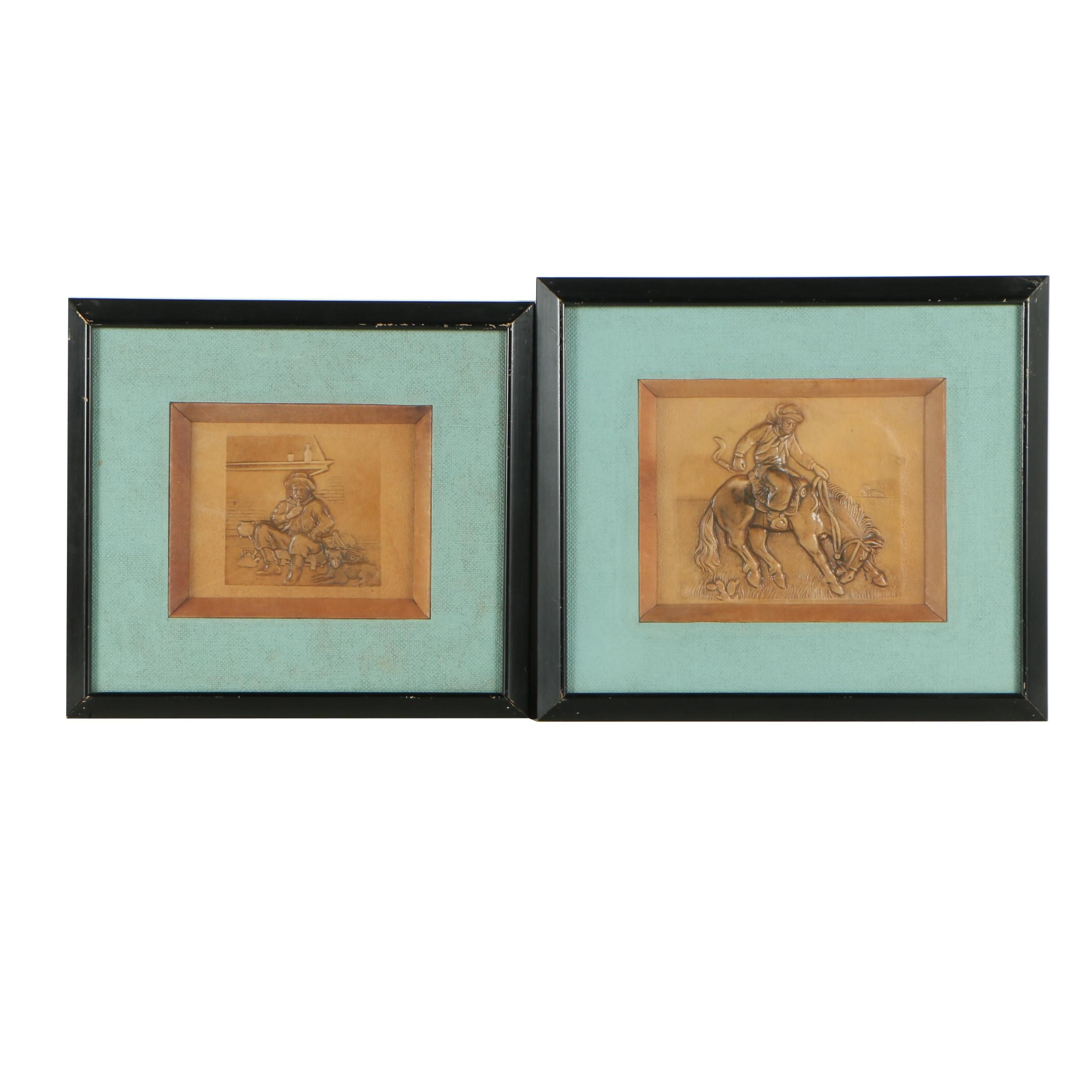 Western Themed Pressed Faux Leather Scenes