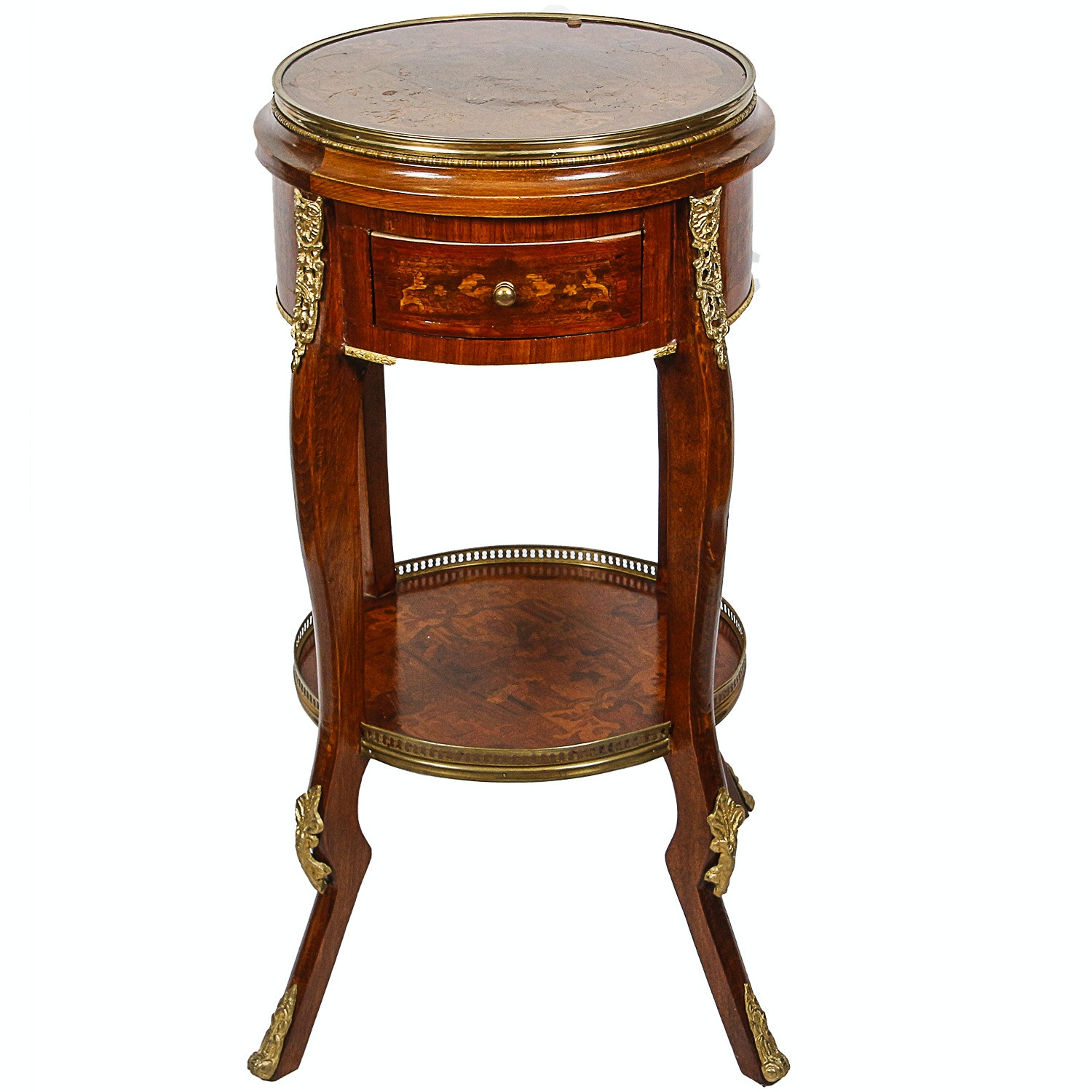 Vintage Louis XVI Style Accent Table with Parquetry Inlay